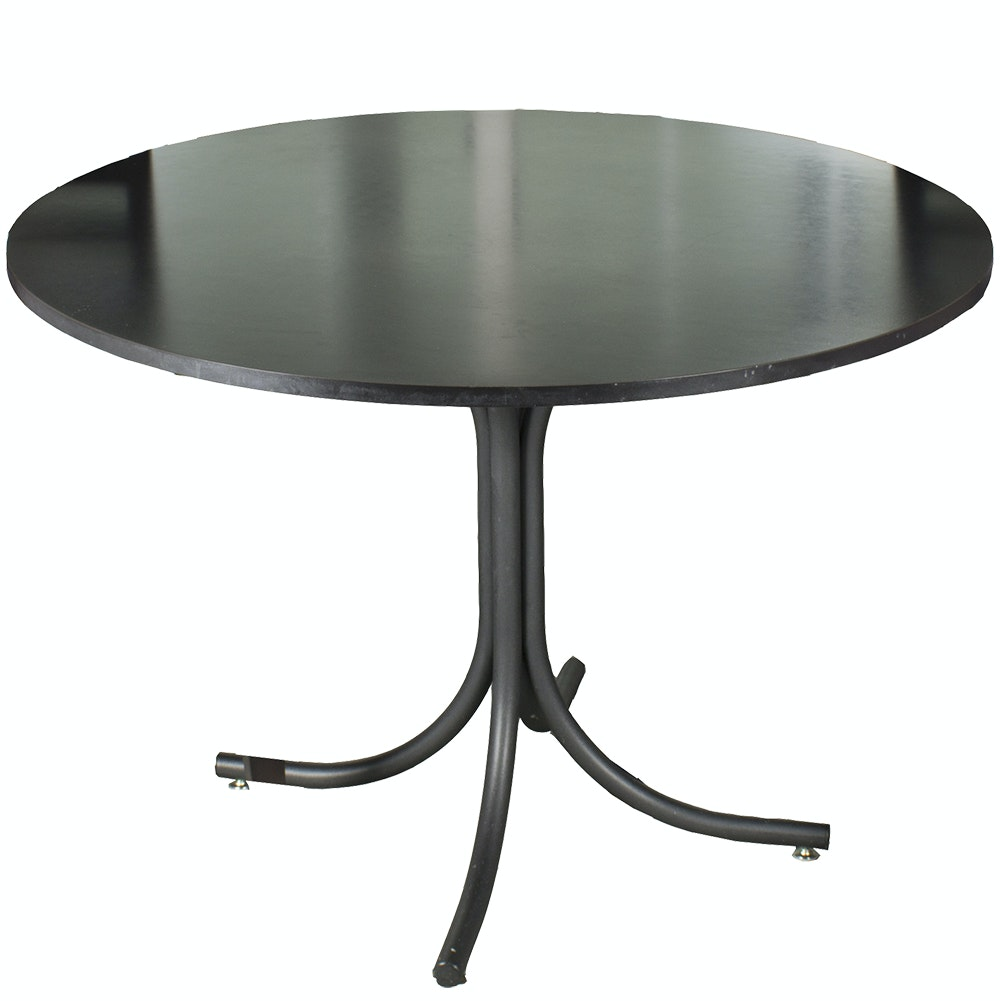 Black Circular Table with Splayed Legs