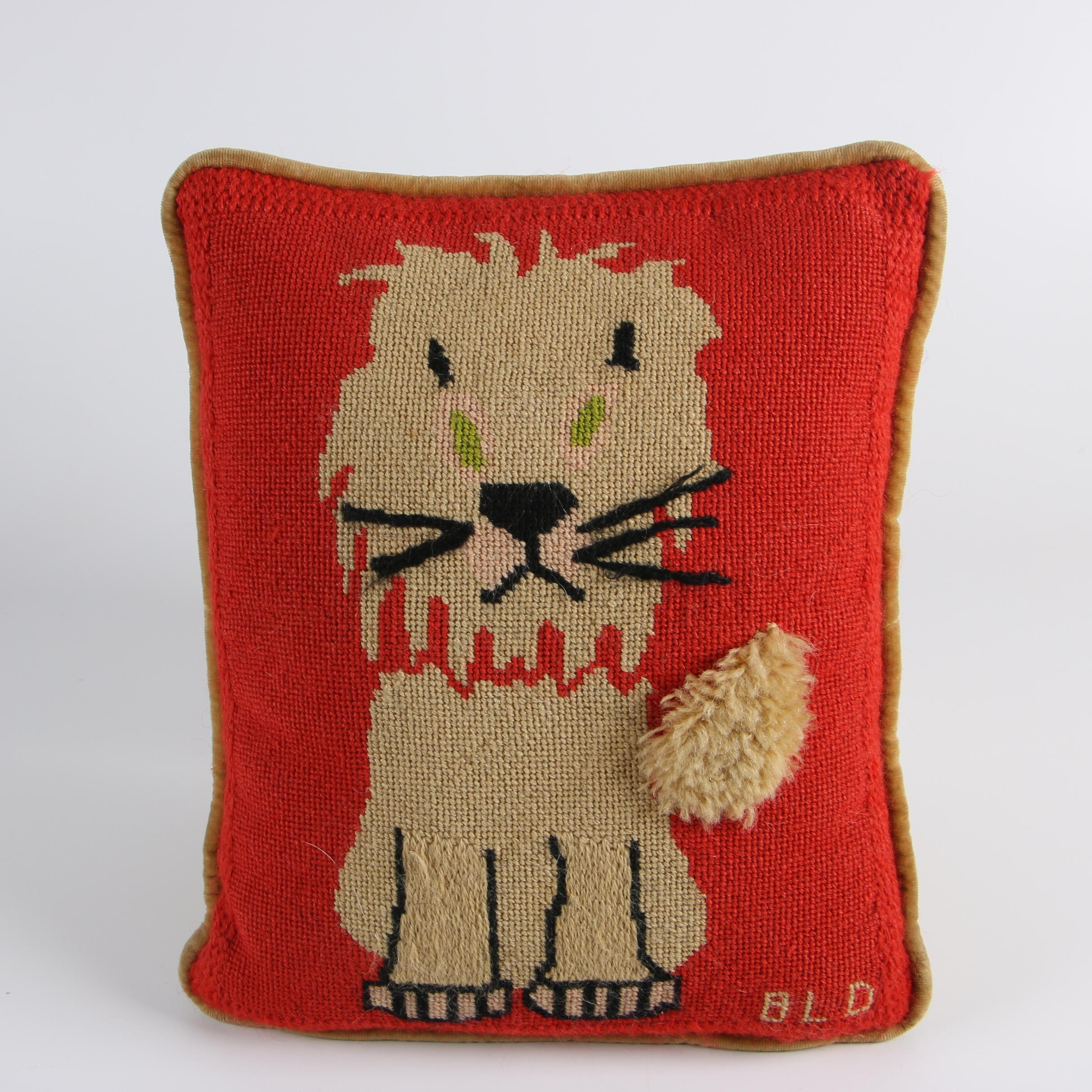 Vintage Signed Needlepoint Lion Pillow