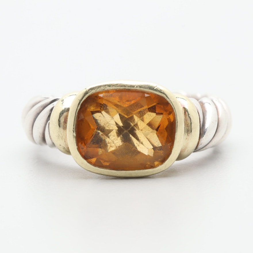 8b69578ae74a2 David Yurman Sterling Silver Citrine Ring with 14K Yellow Gold Accents