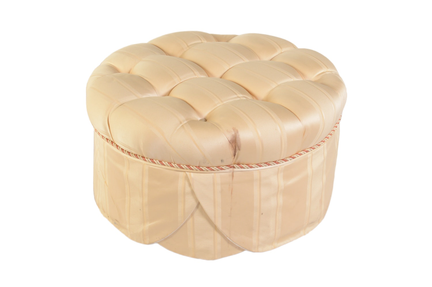 Beige Button Tufted Circular Ottoman on Casters