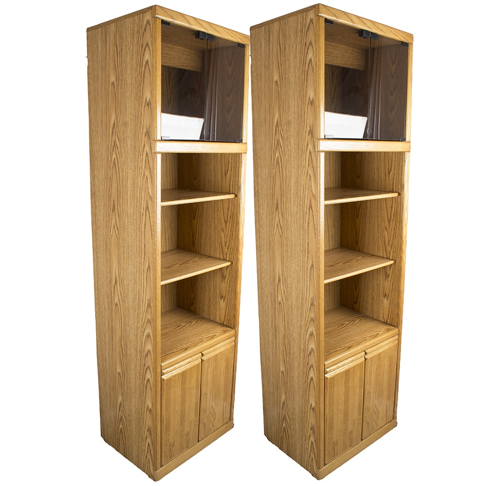 Pair of Oak Laminate Shelving Units with Cabinets