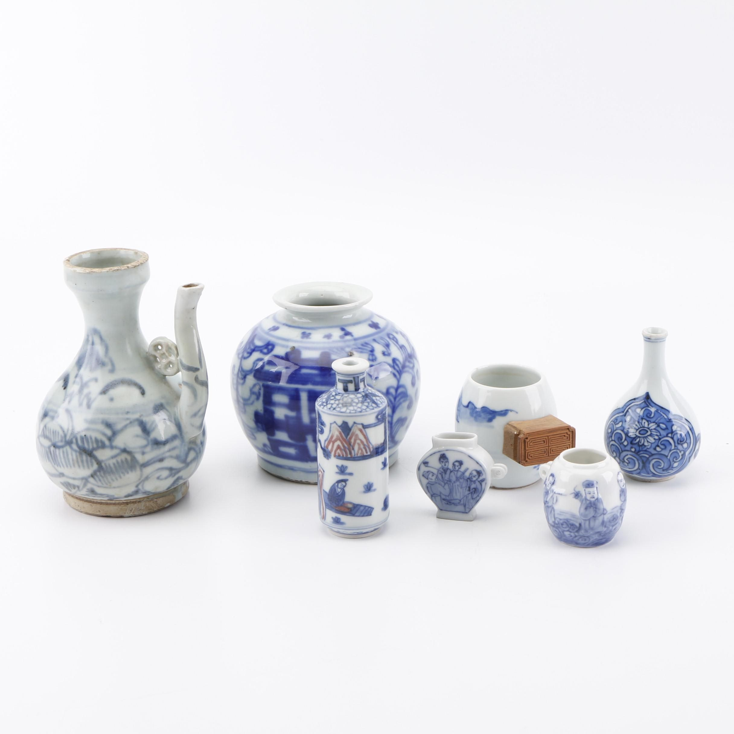 Miniature Chinese Blue and White Vases and Pots