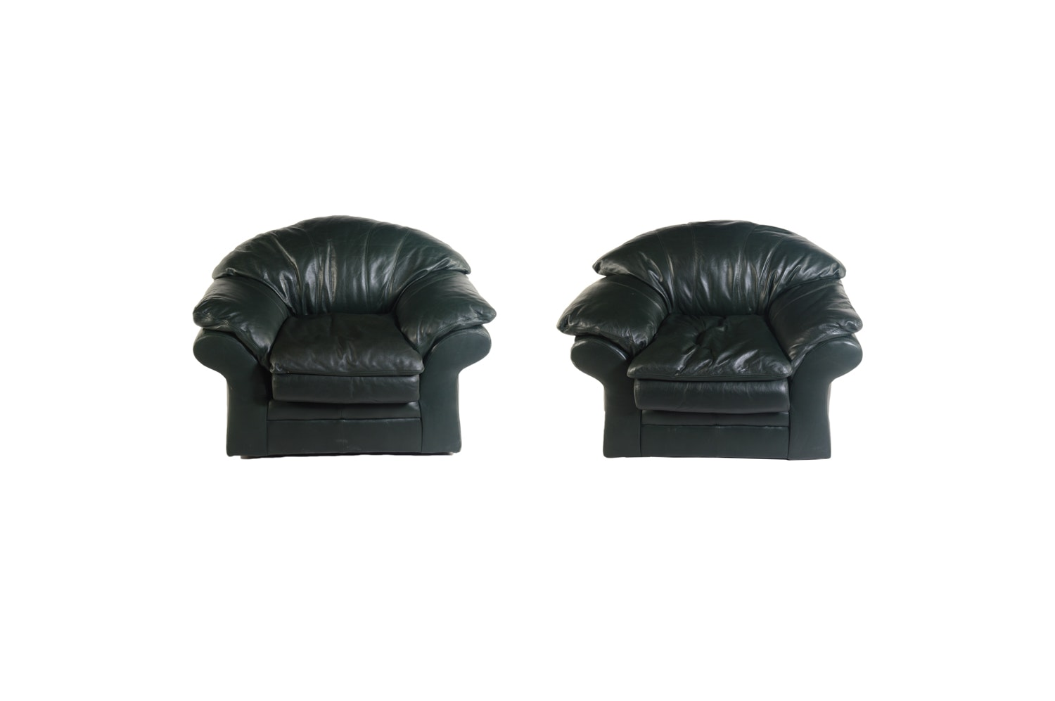 Black Leather Armchairs by Viewpoint Leather Works