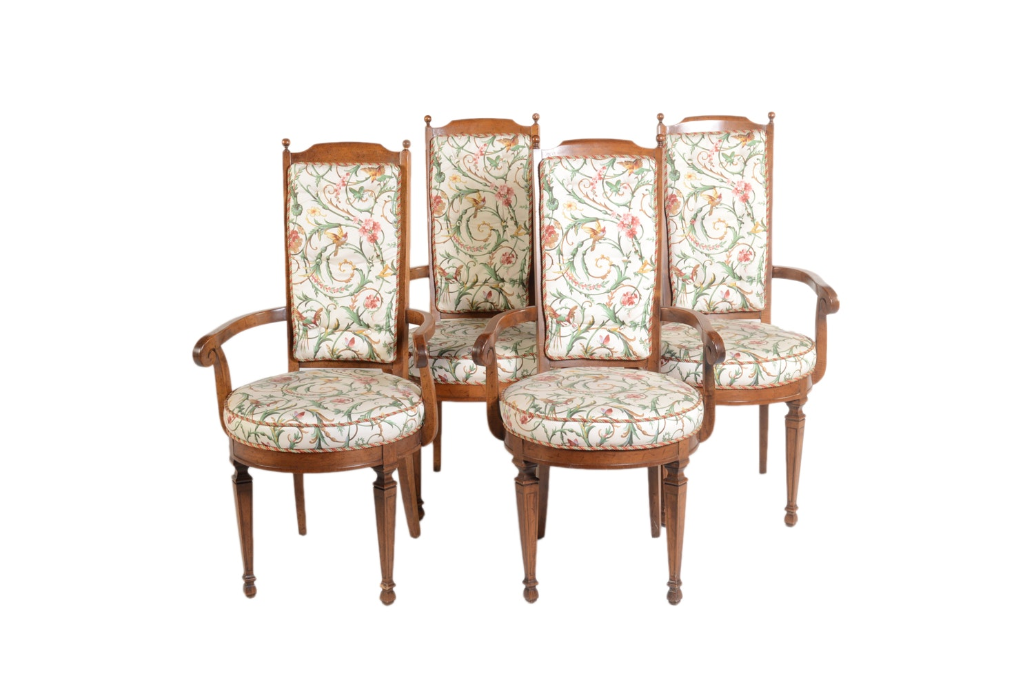 Vintage Floral Upholstered Dining Chairs