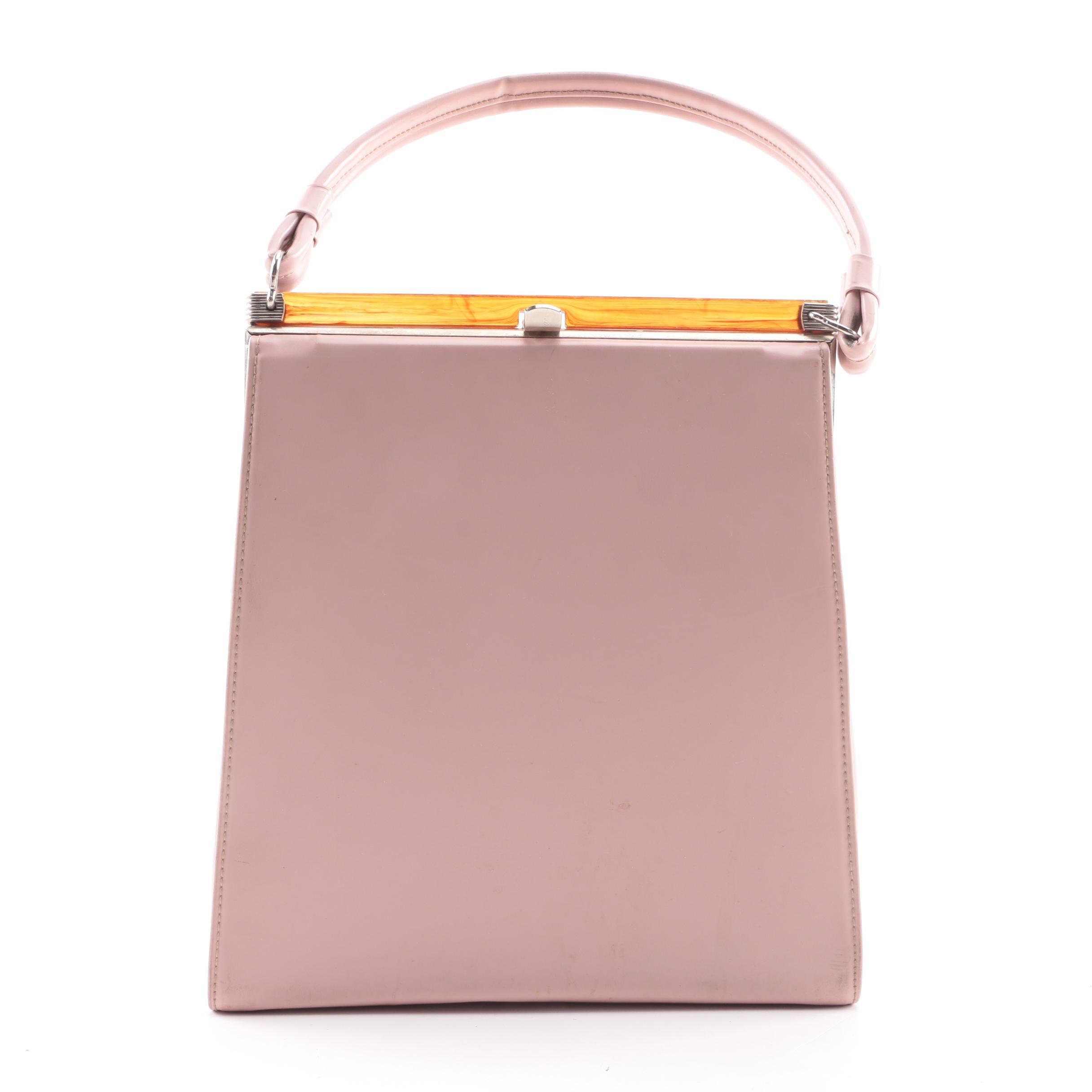 Vintage Pink Vinyl Top Handle Handbag