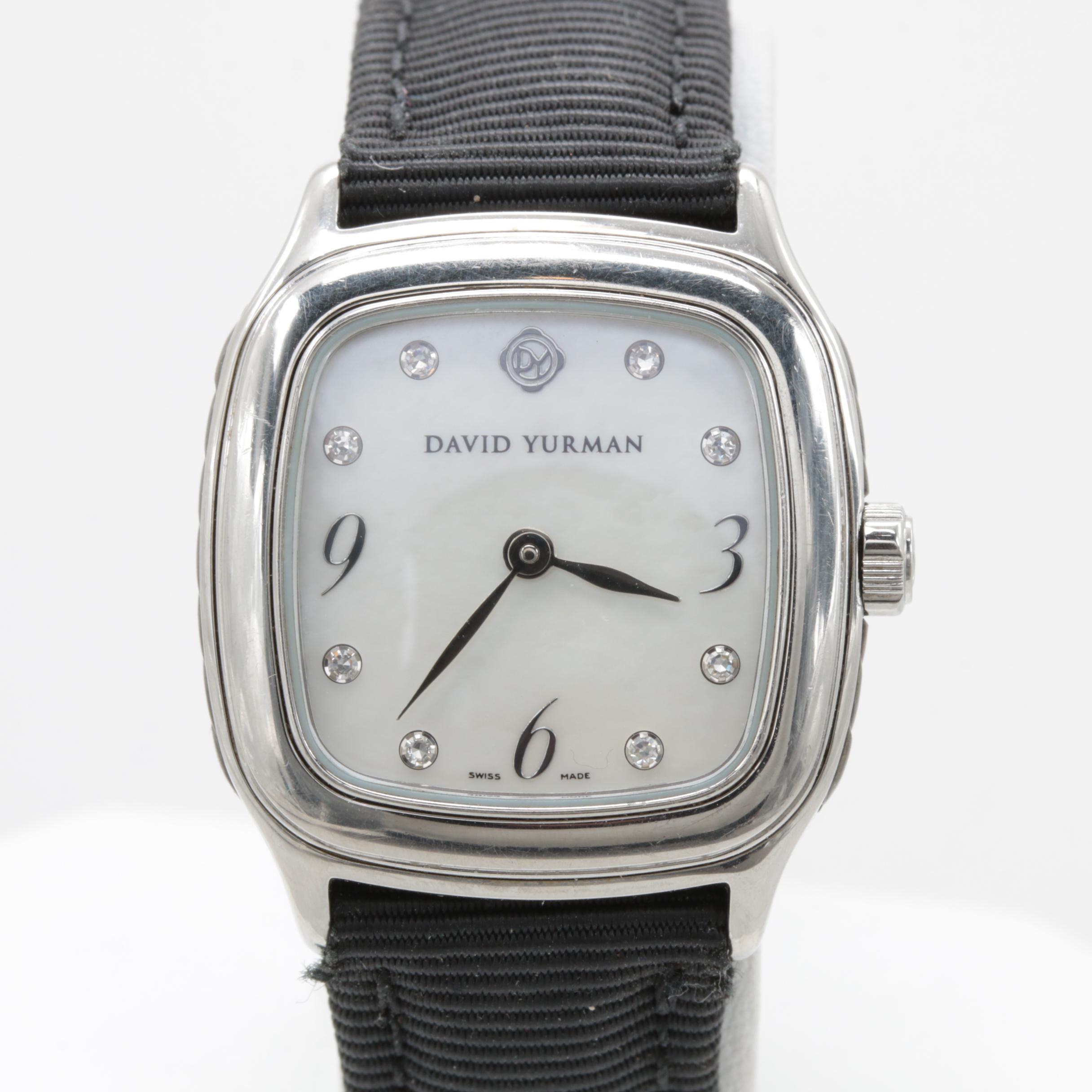 "David Yurman ""Thoroughbred"" Mother of Pearl and Diamond Wristwatch"