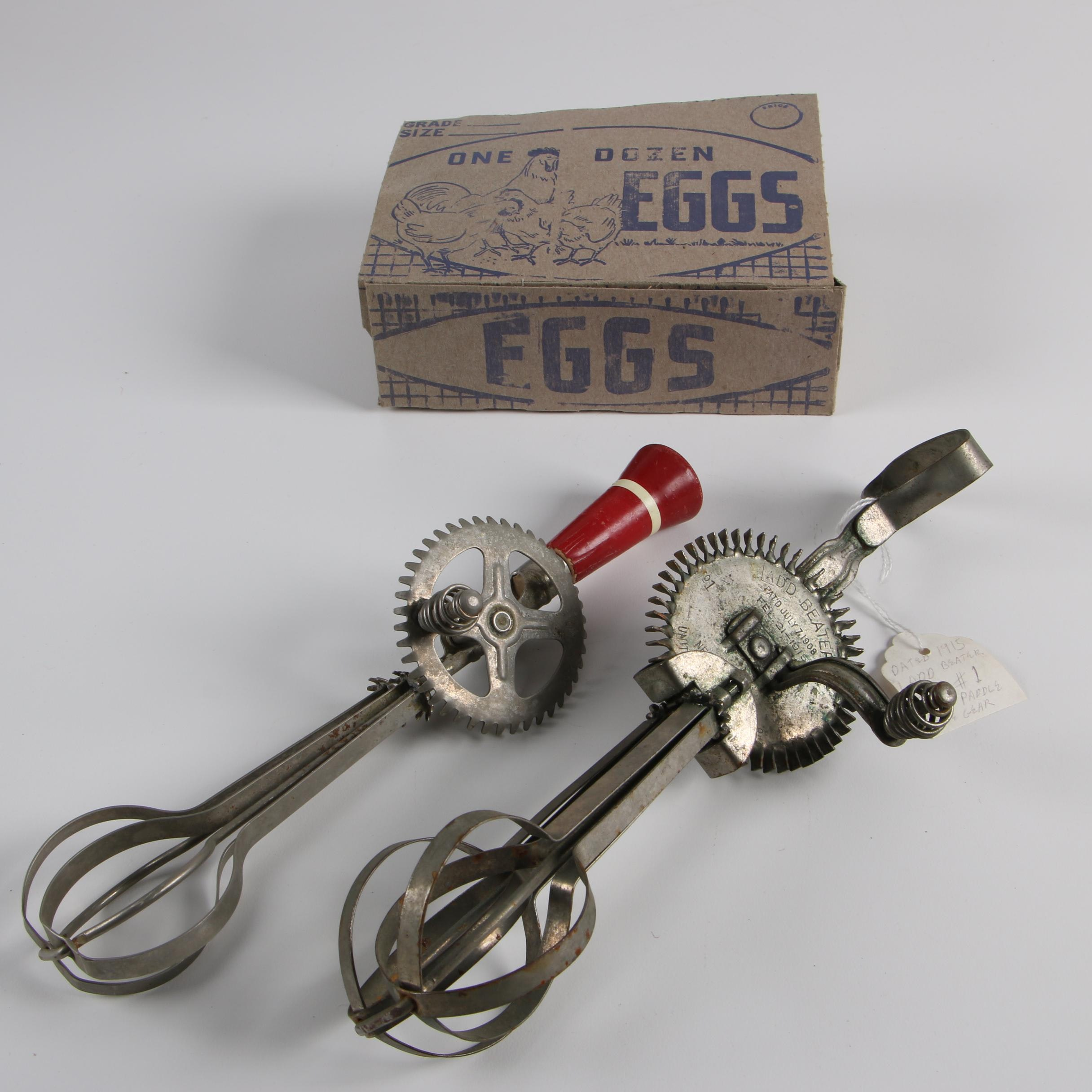 Antique and Vintage Egg Beaters and Egg Carton featuring Ladd