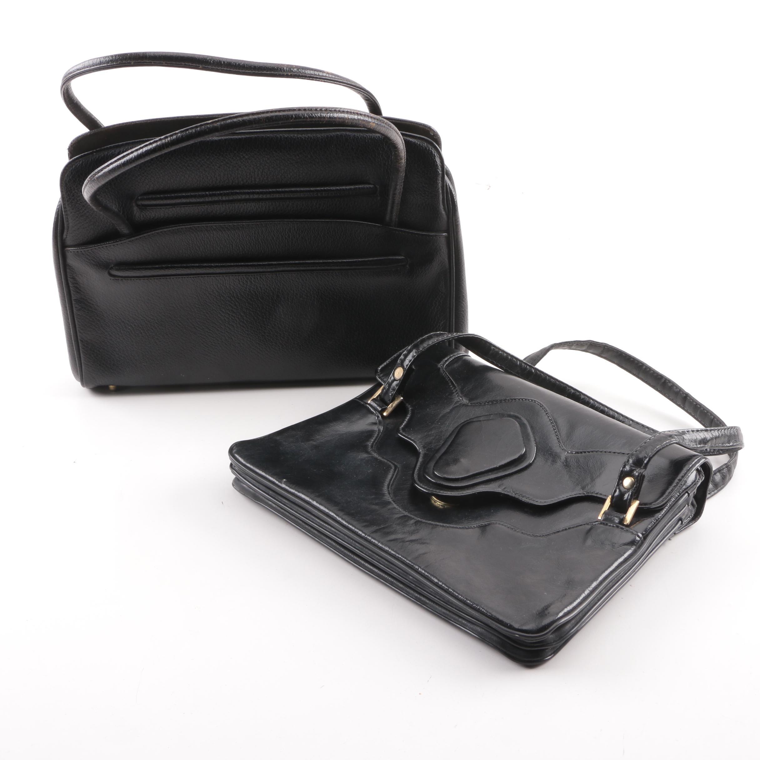 Vintage Black Vinyl and Leather Handbags including Rambler