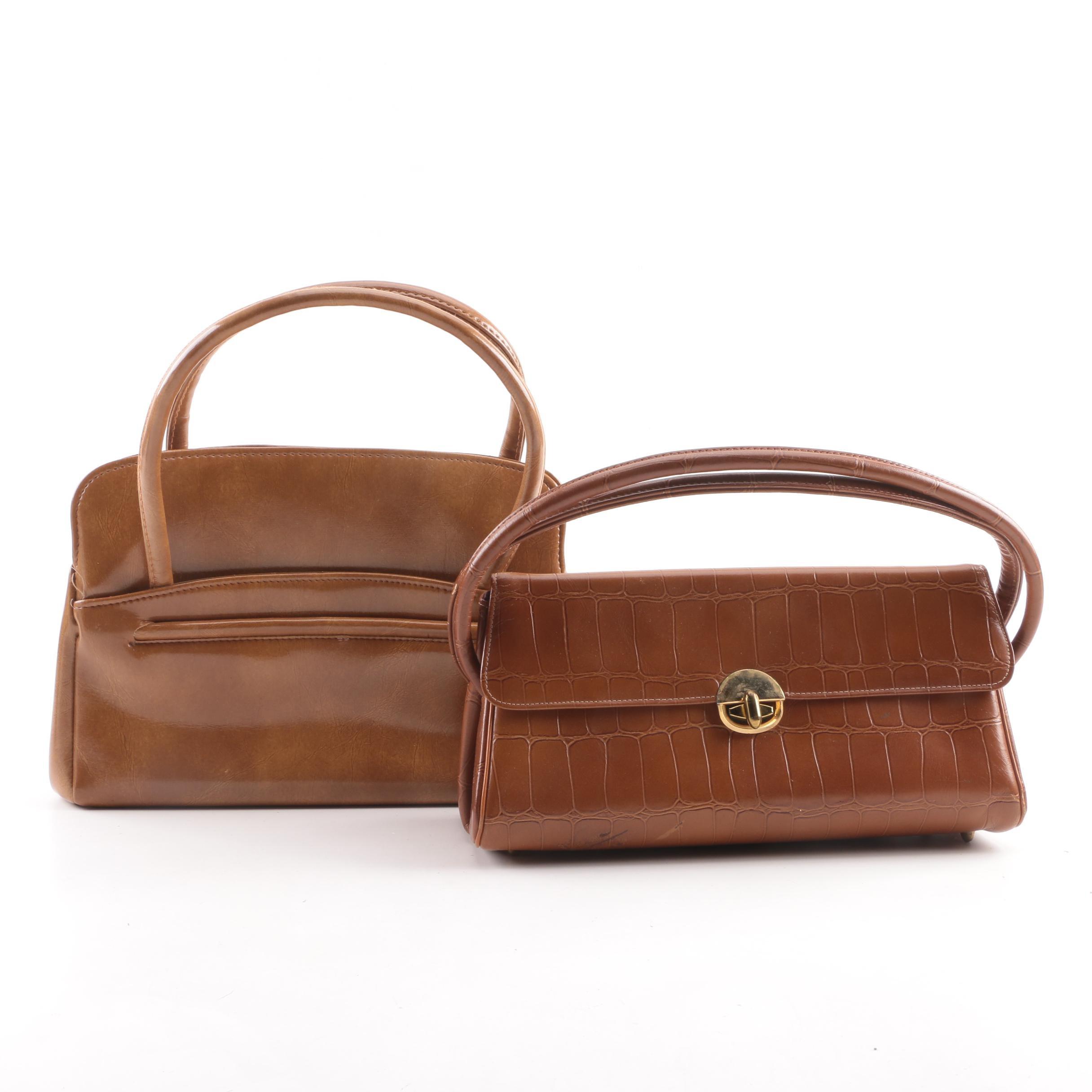 Vintage Brown Vinyl and Alligator Embossed Handbags