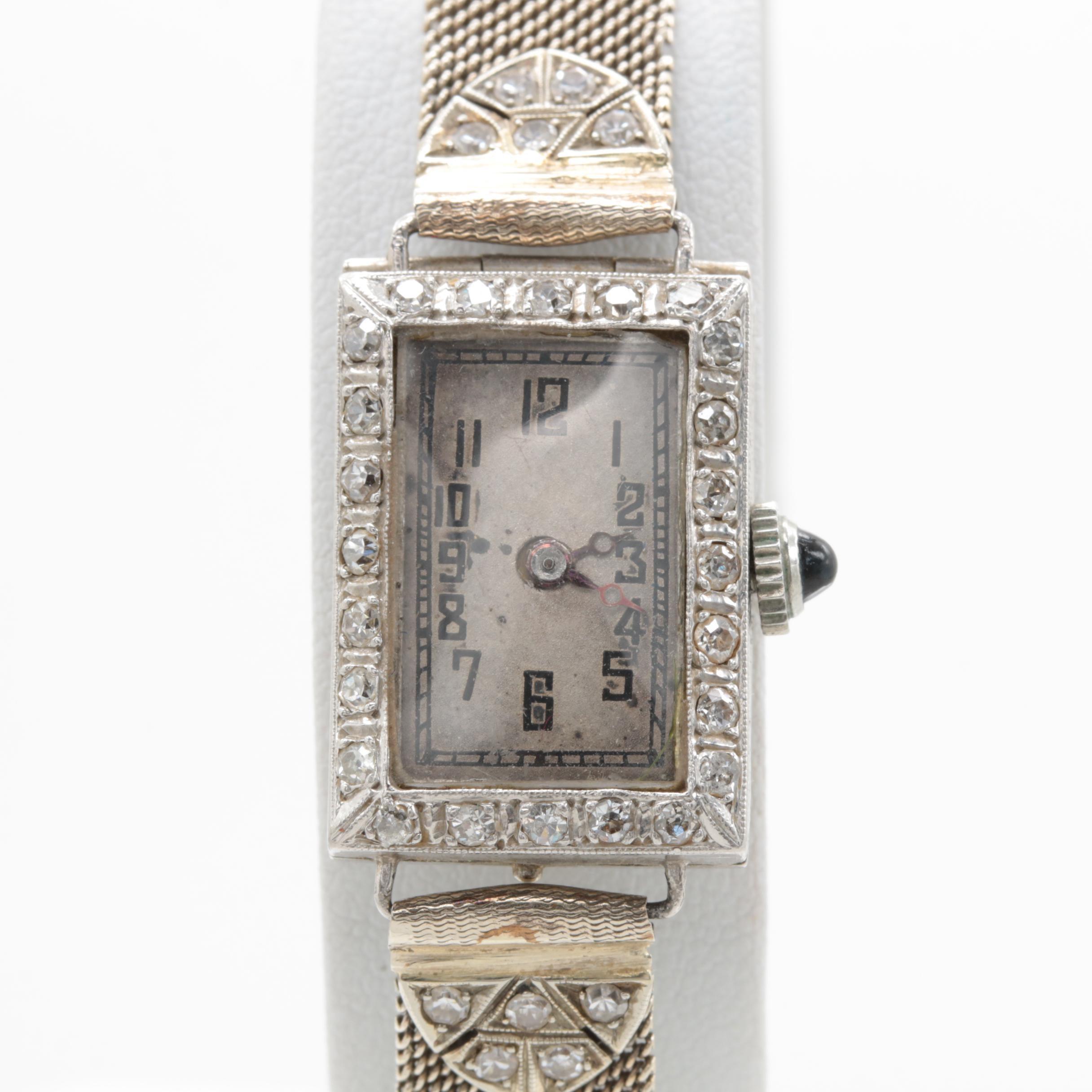 Platinum and 14K White Gold Diamond Wristwatch
