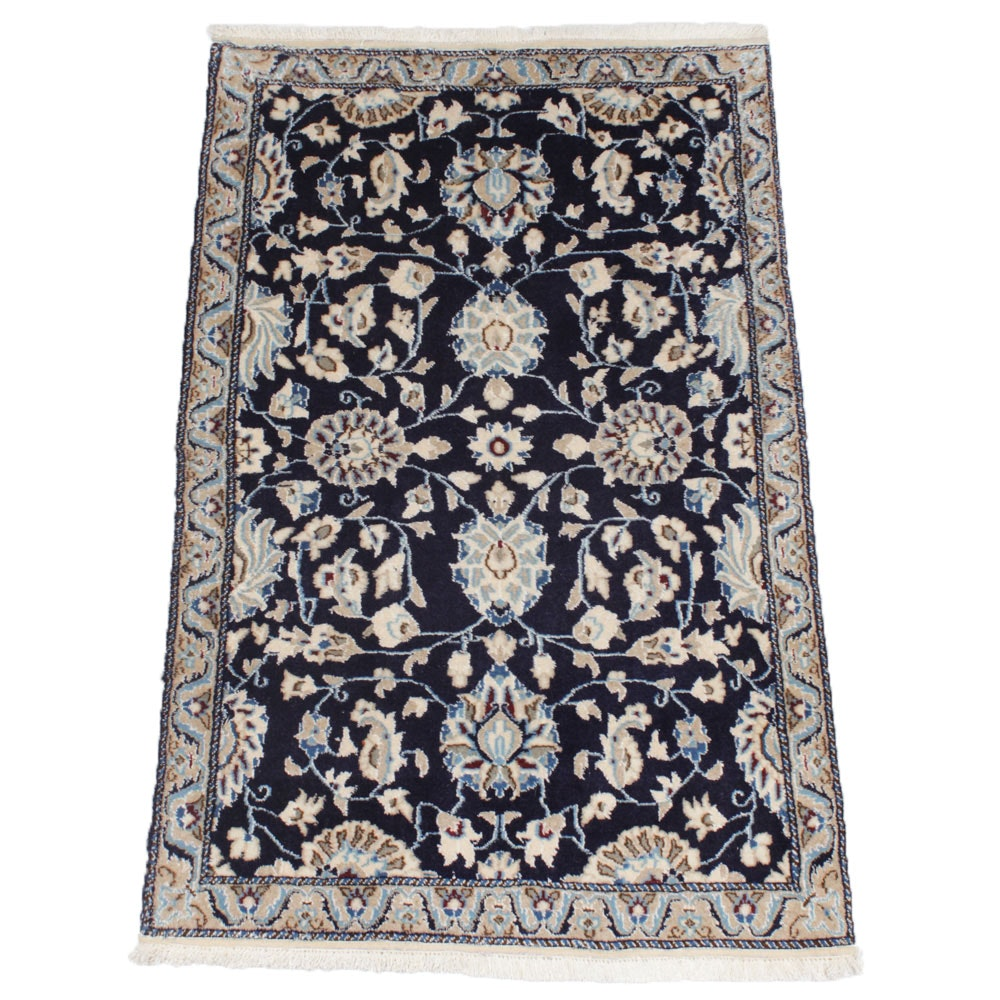 3'1 x 5'0 Fine Hand-Knotted Persian Nain Silk Blend Rug