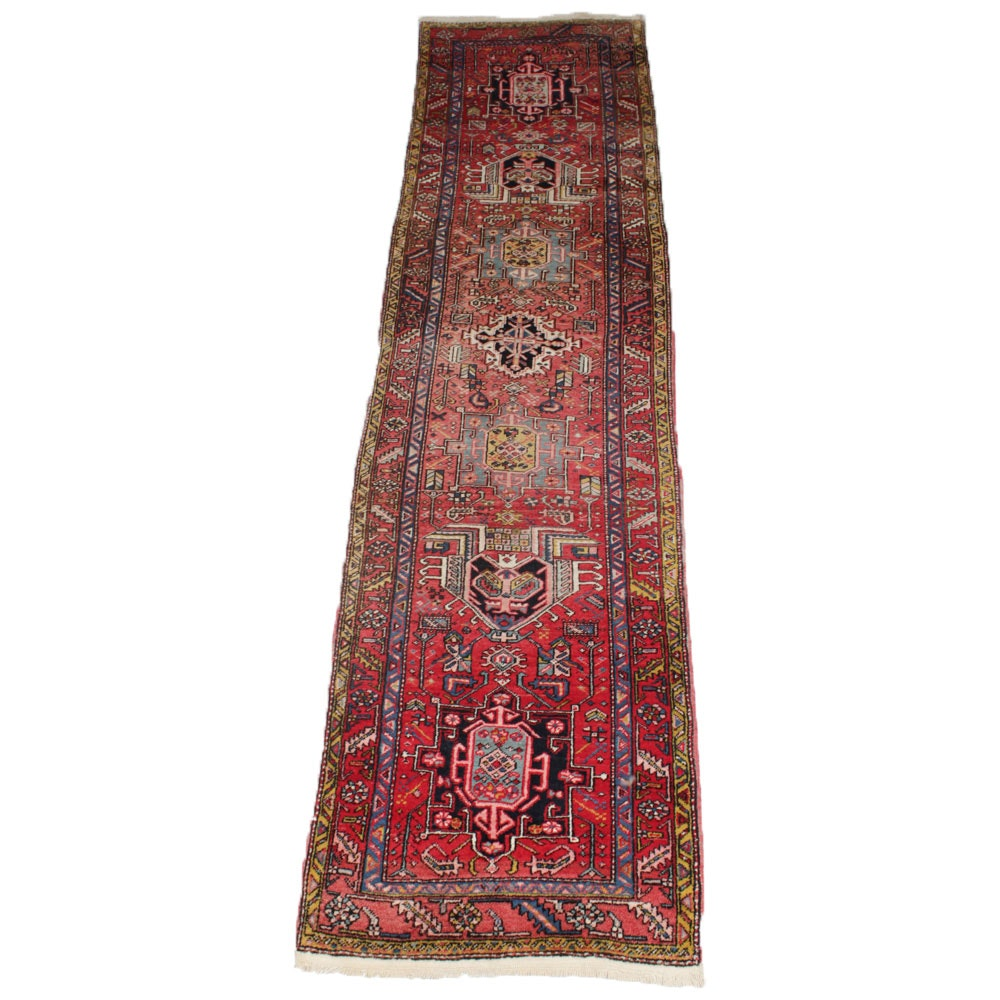 3'1 x 11'4 Antique Hand-Knotted Persian Heriz Runner