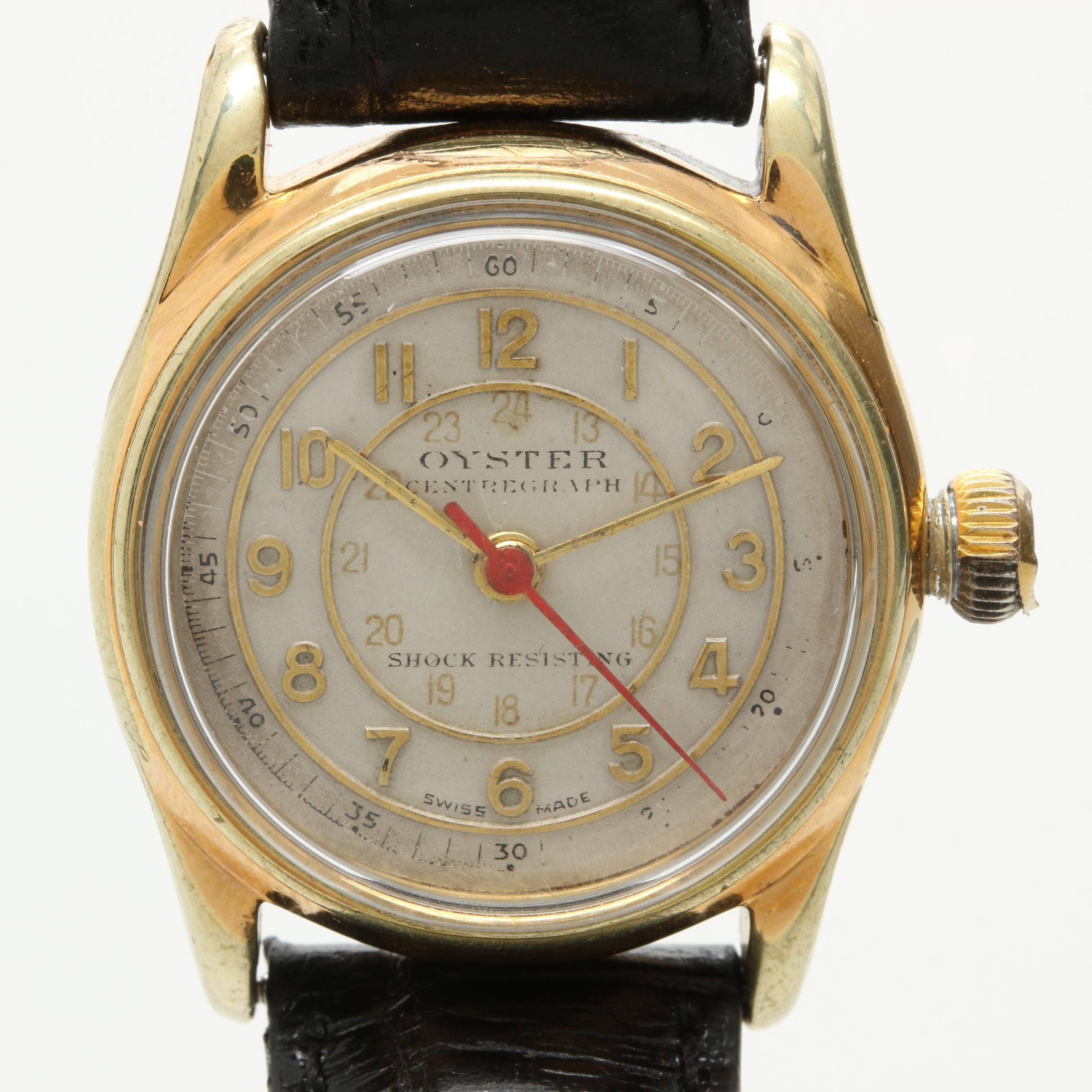 Circa 1940s Rolex Oyster Centregraph Stainless Steel Wristwatch