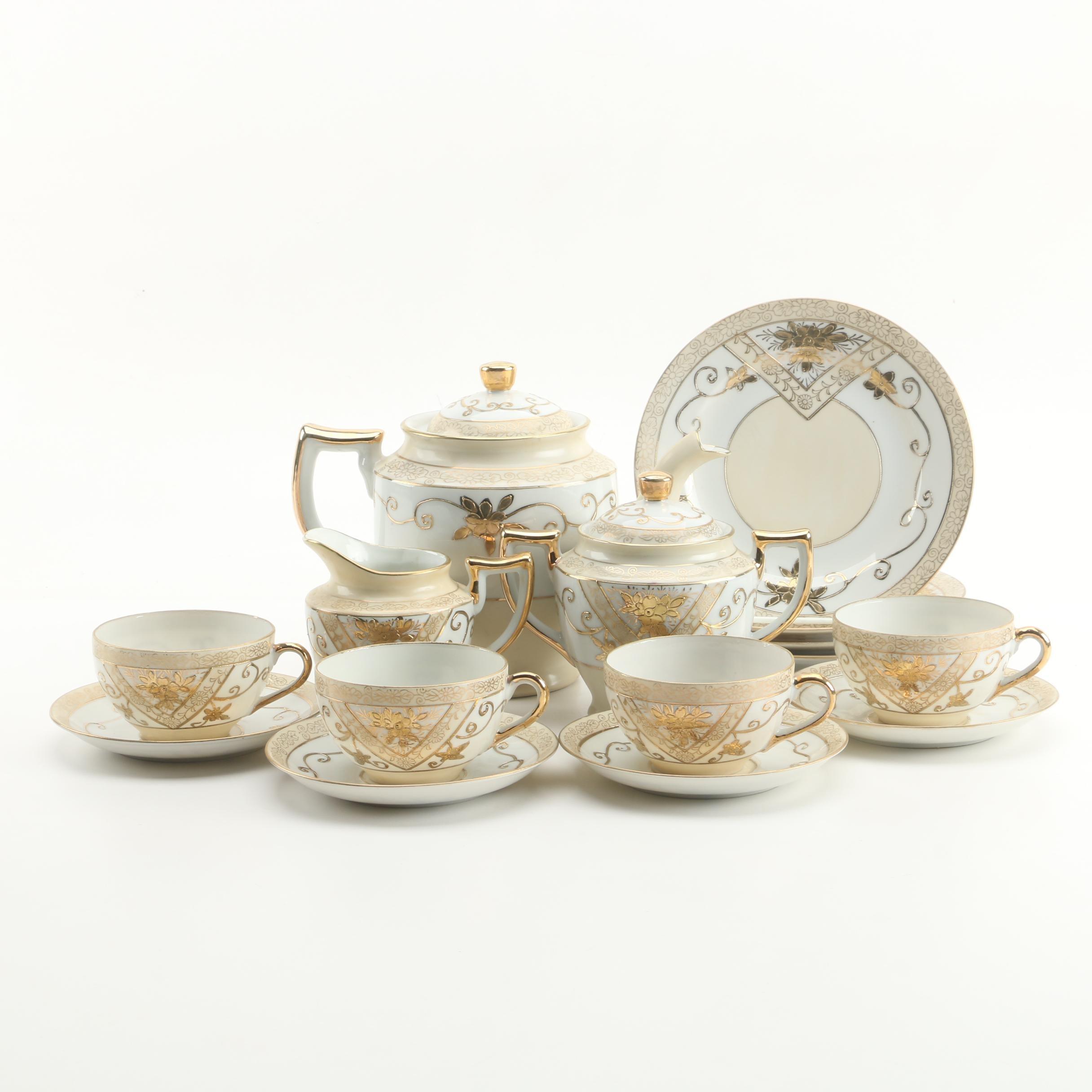 Moriyama Mori-machi Japanese Hand-Painted Gilt Porcelain Tea Set