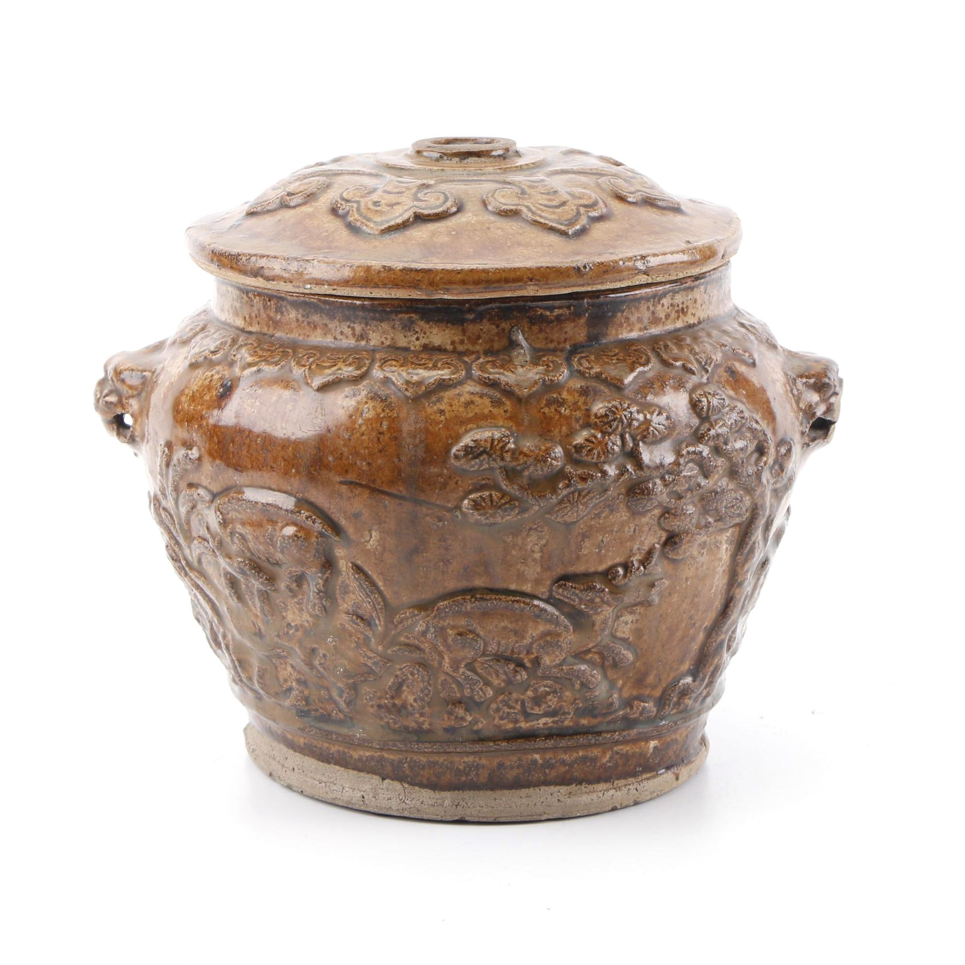 Chinese Embossed Pictorial Stoneware Lidded Jar