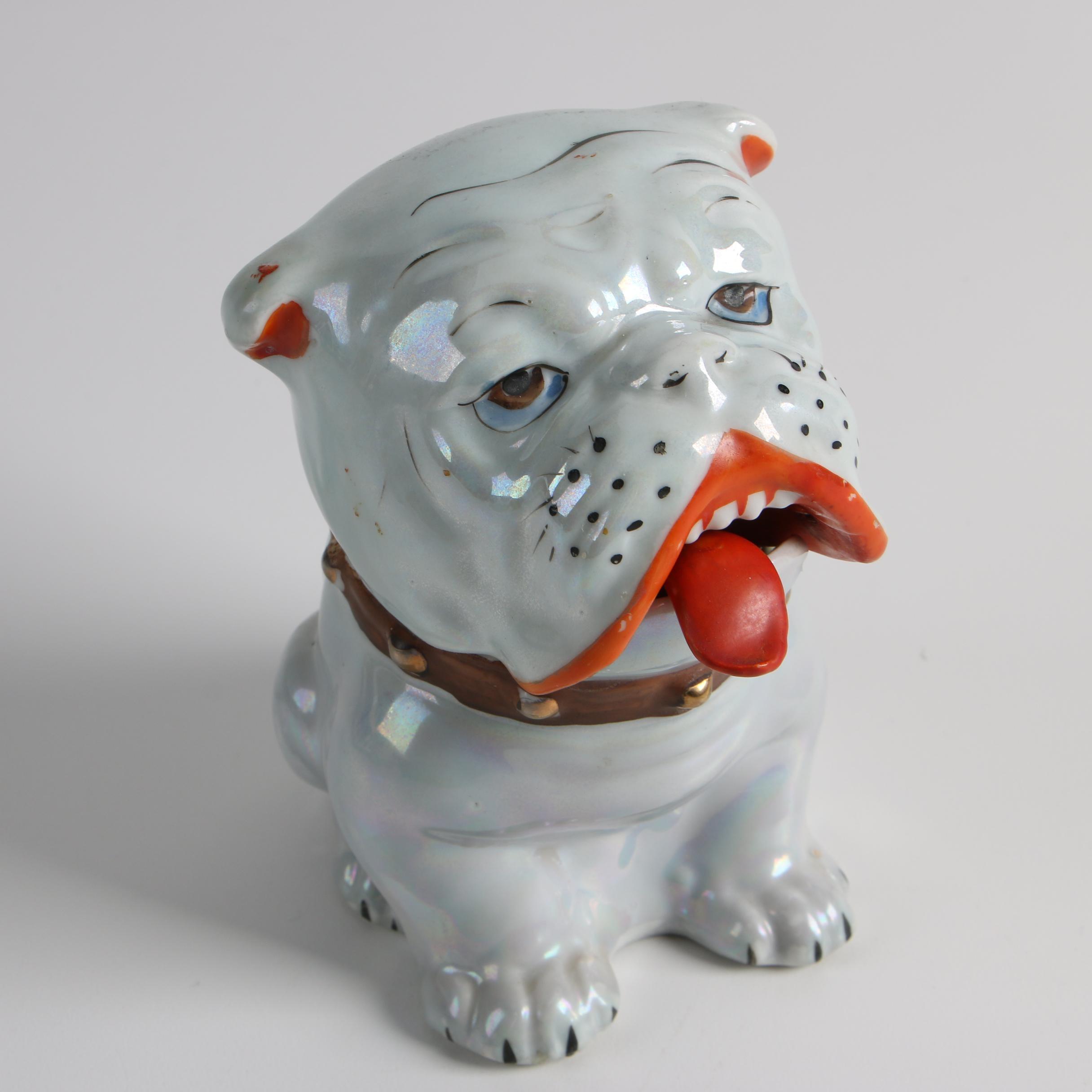 Japanese Bulldog Lusterware Porcelain Sugar Bowl
