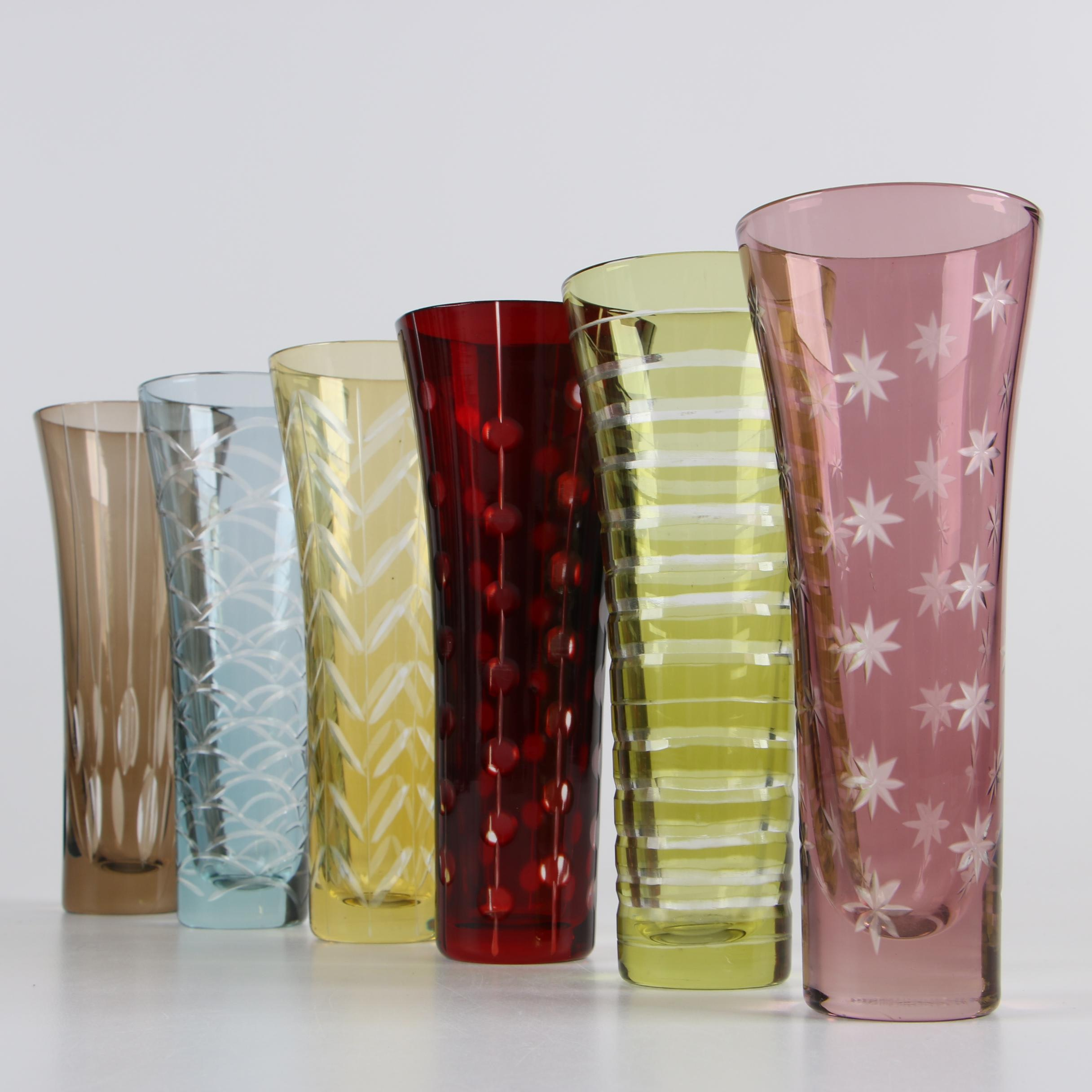 Mid Century Style Colored Cut to Clear Glassware