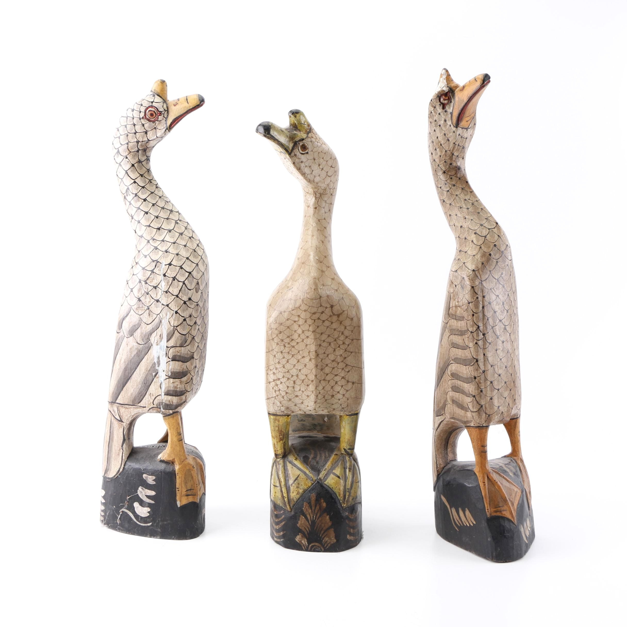 Vintage Hand Crafted Chinese Goose Sculptures