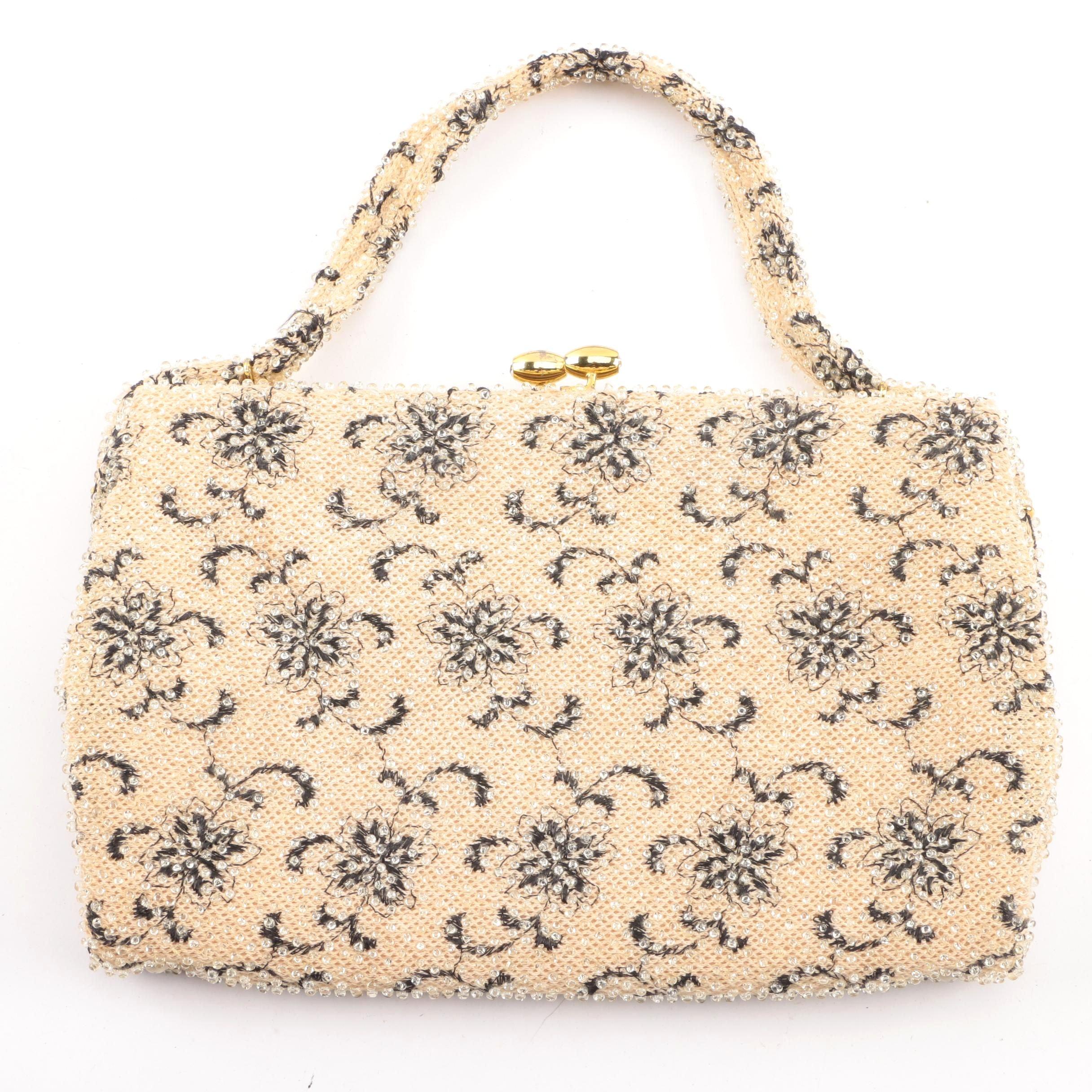 Vintage Lumured Cordé Cream and Black Beaded Handbag