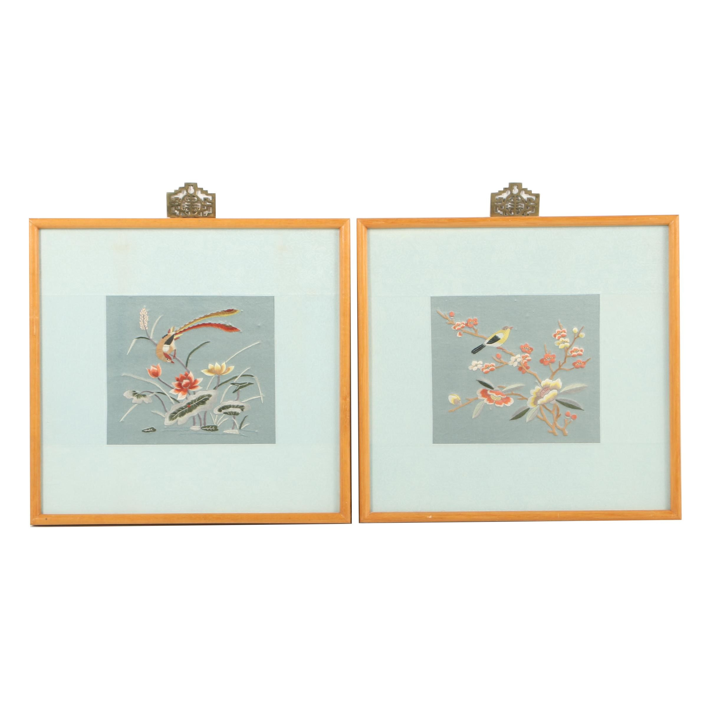 Framed Chinese Silk Embroideries depicting Flower and Bird Vignettes