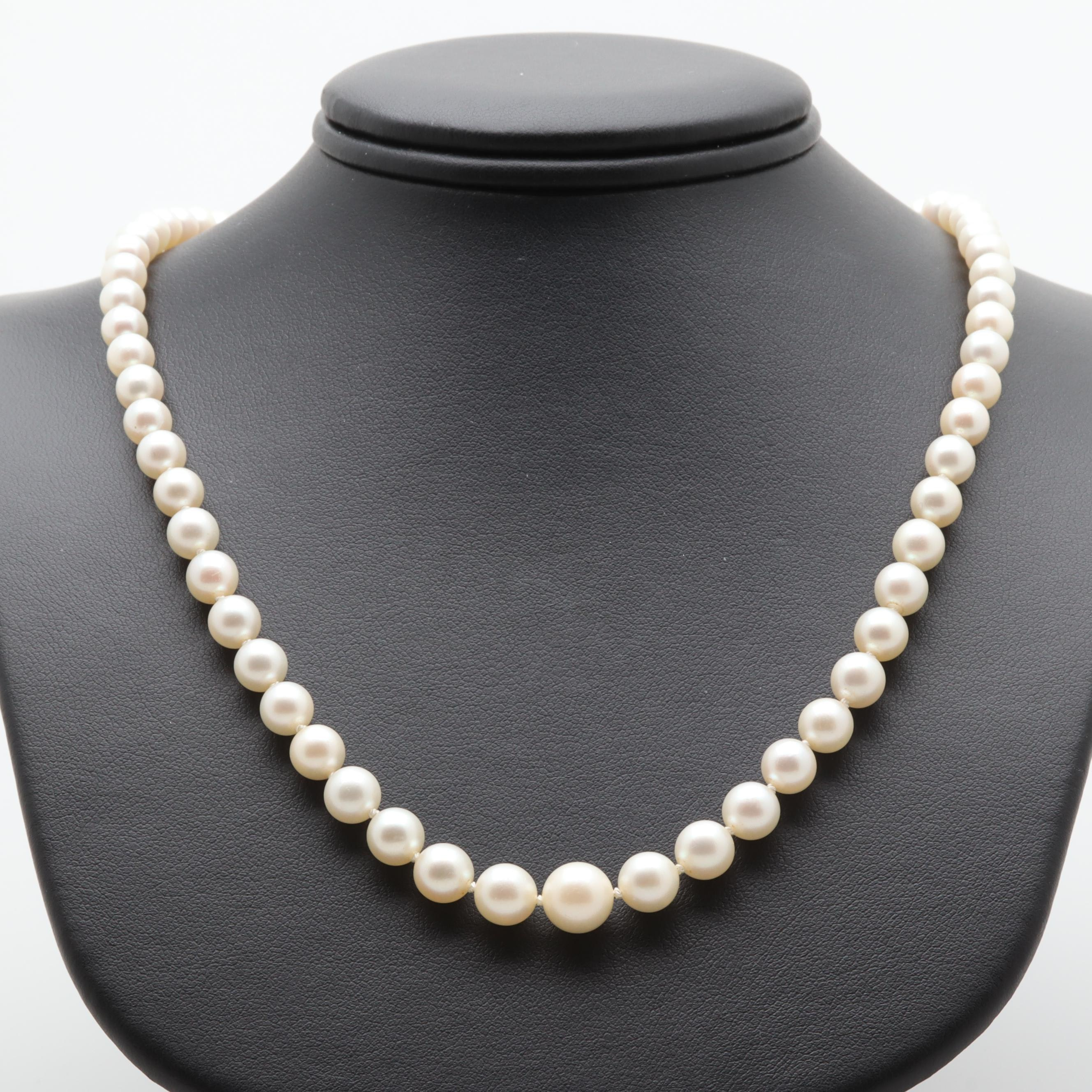 Vintage Mikimoto Sterling Silver Cultured Pearl Necklace