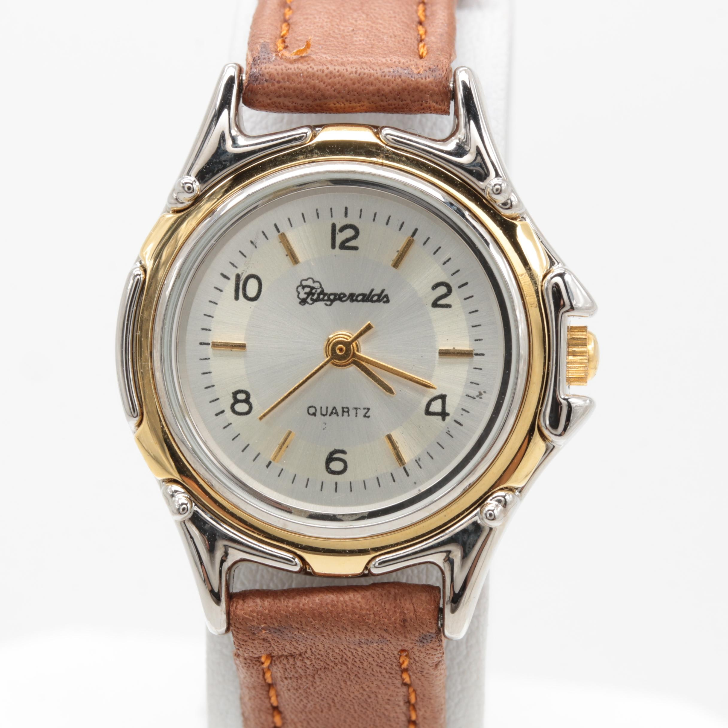 Fitzgeralds Casino Gold Tone and Stainless Steel Wristwatch with Leather Strap
