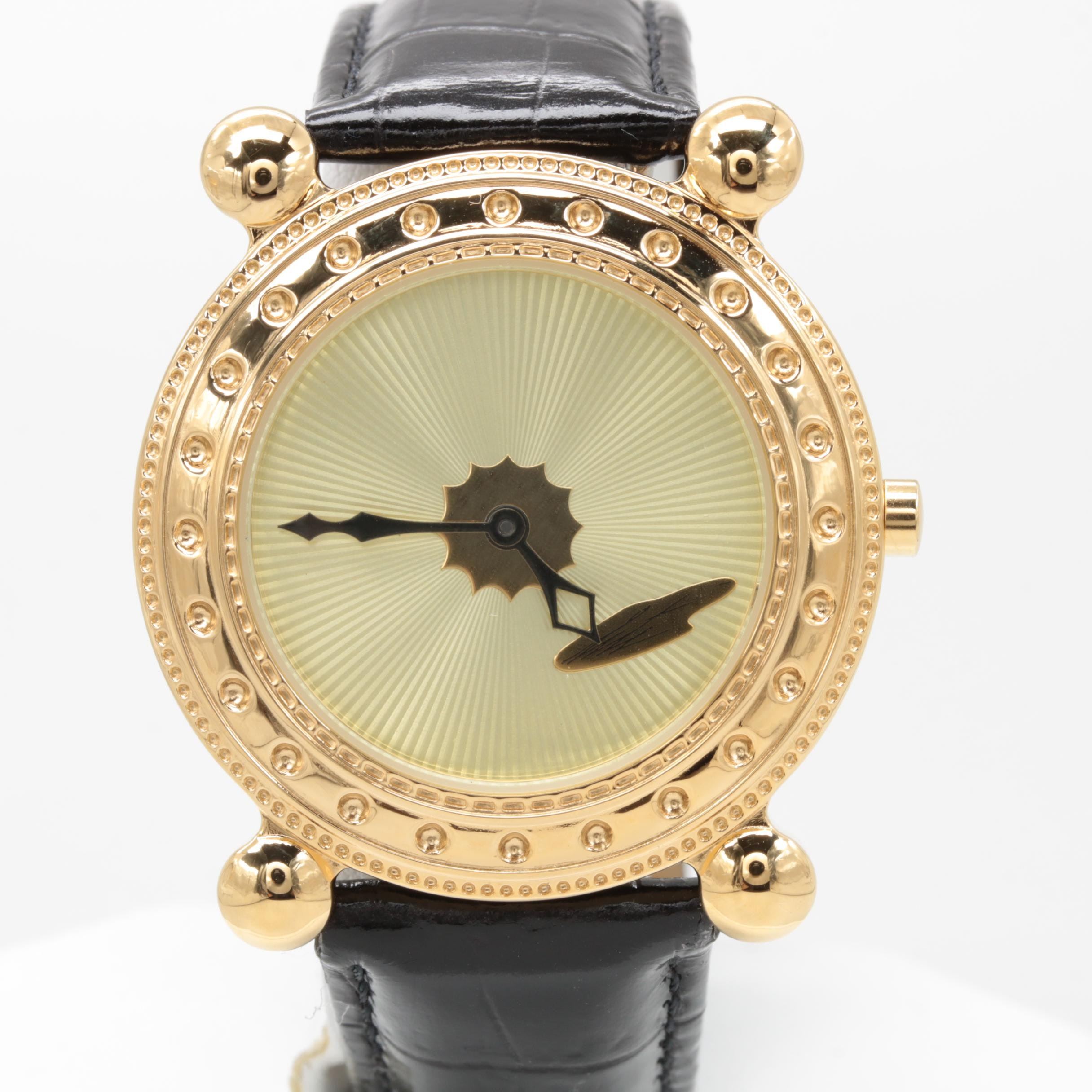"Sevenarts Ltd. ""Erté"" Gold Plated Stainless Steel Wristwatch with Leather Strap"