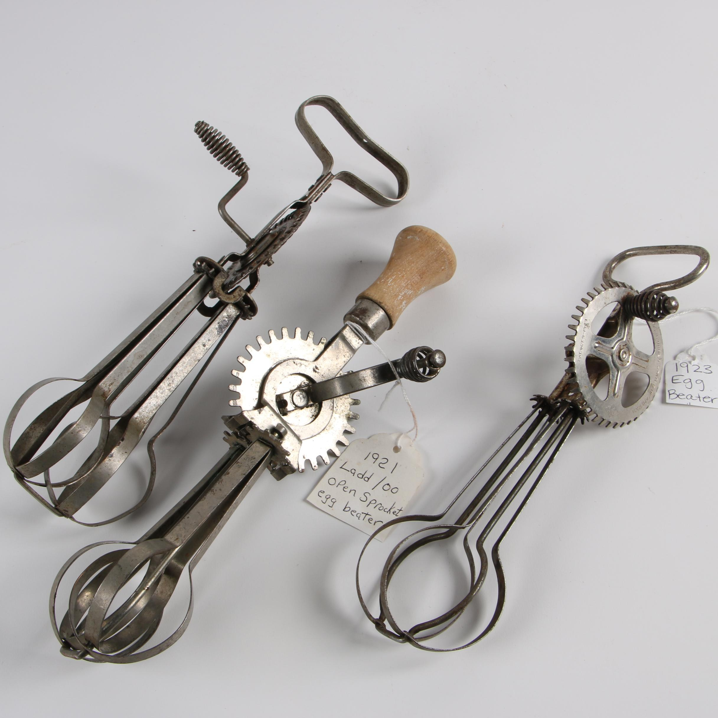 Vintage Egg Beaters including Ladd Open Sprocket Beater
