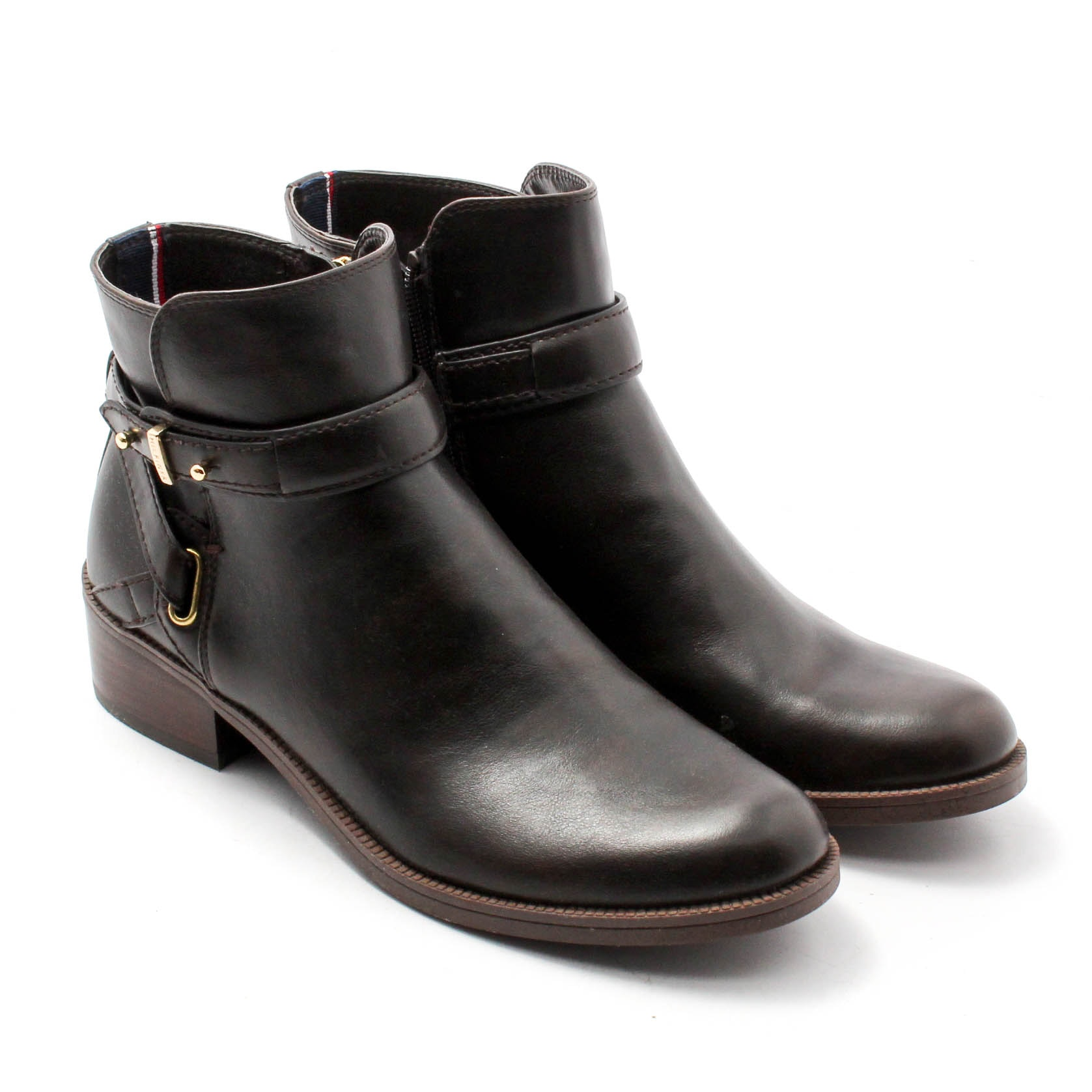 Tommy Hilfiger Black Leather Ankle Boots