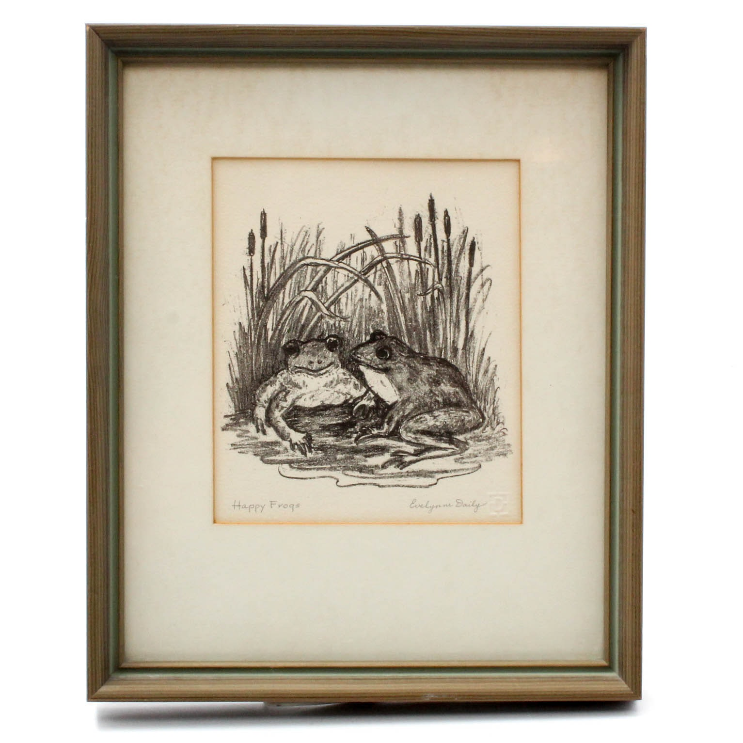 """Evelynne Daily Indiana Artist """"Happy Frogs"""" Etching"""