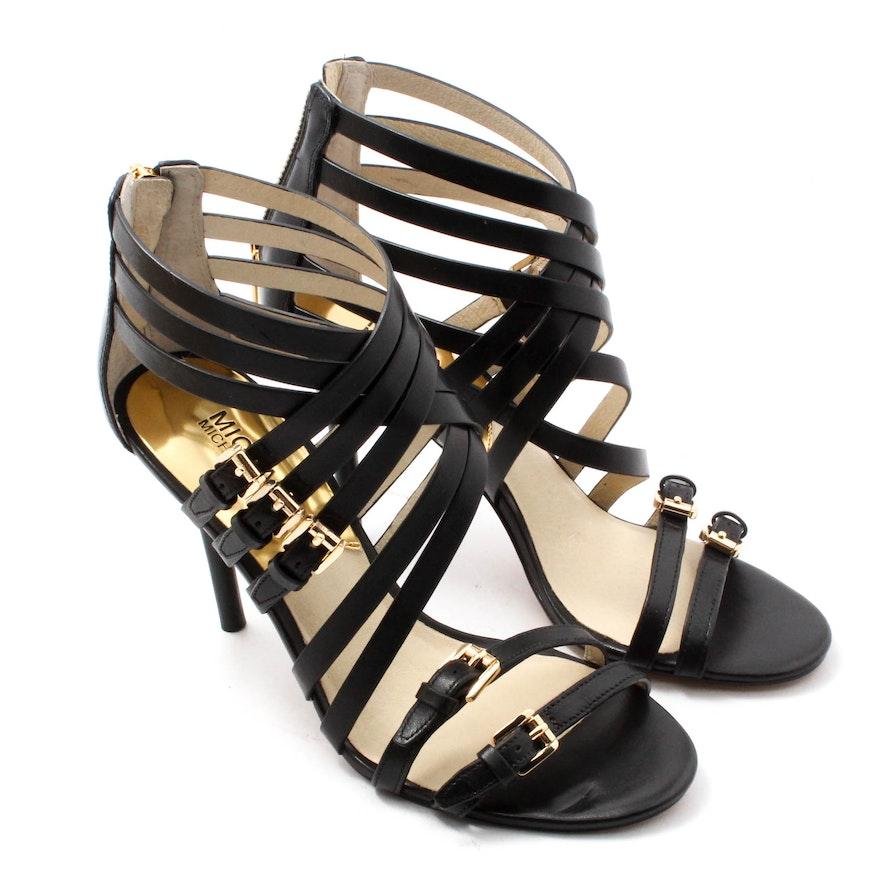 a30c90e3df0 MICHAEL Michael Kors Black Strappy Leather Heels   EBTH