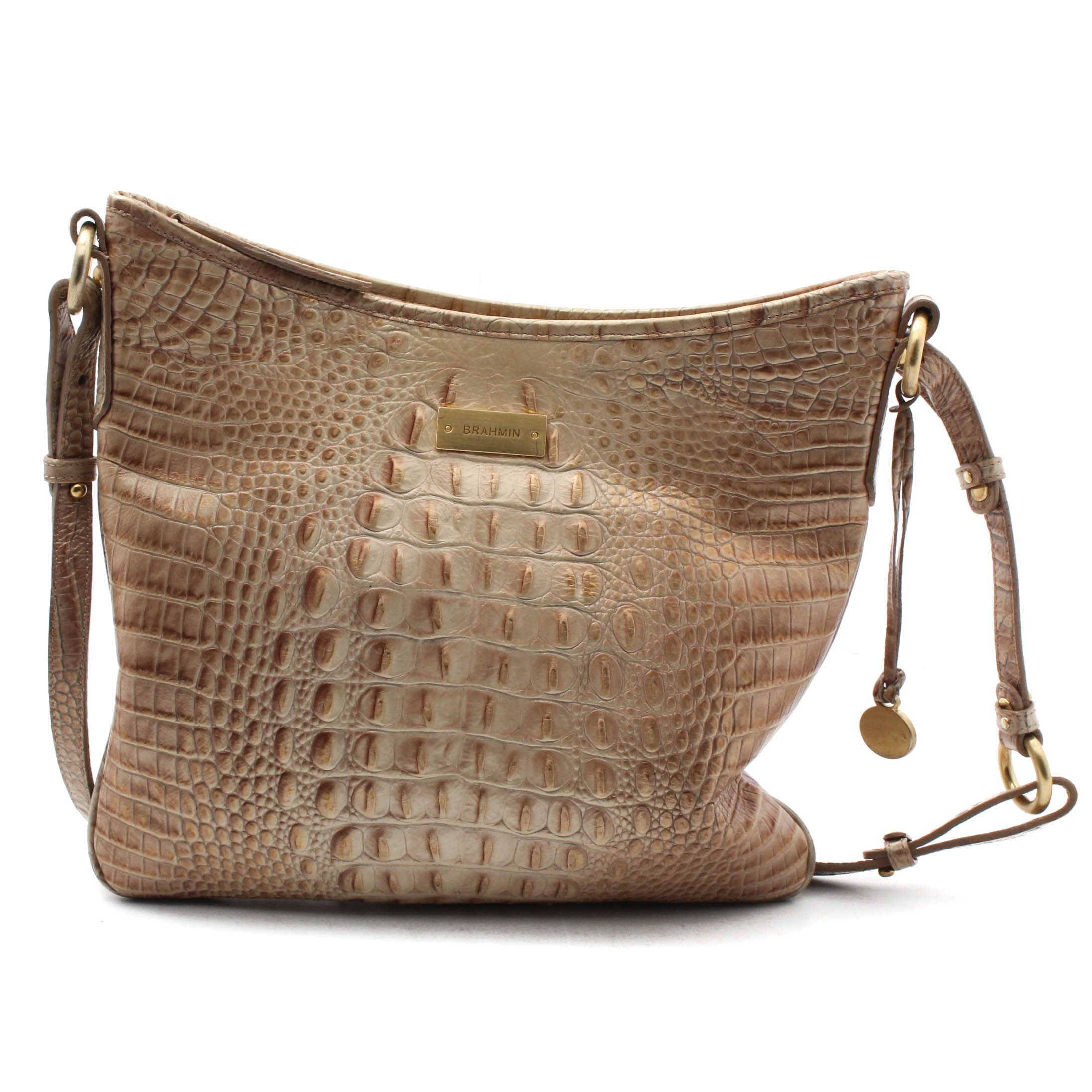 Brahmin Pearlescent Crocodile Embossed Leather Handbag