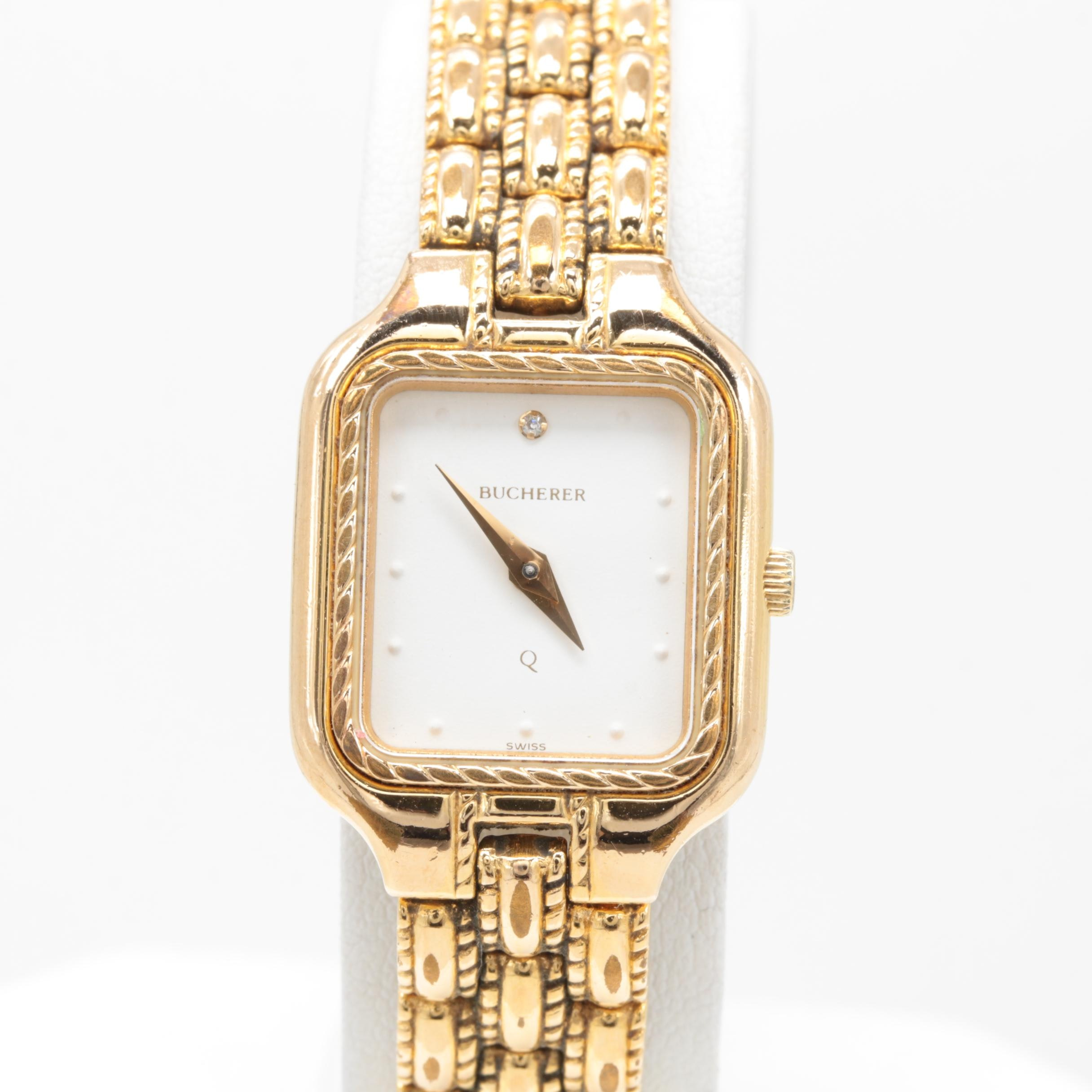 Bucherer Gold Tone Diamond Quartz Wristwatch