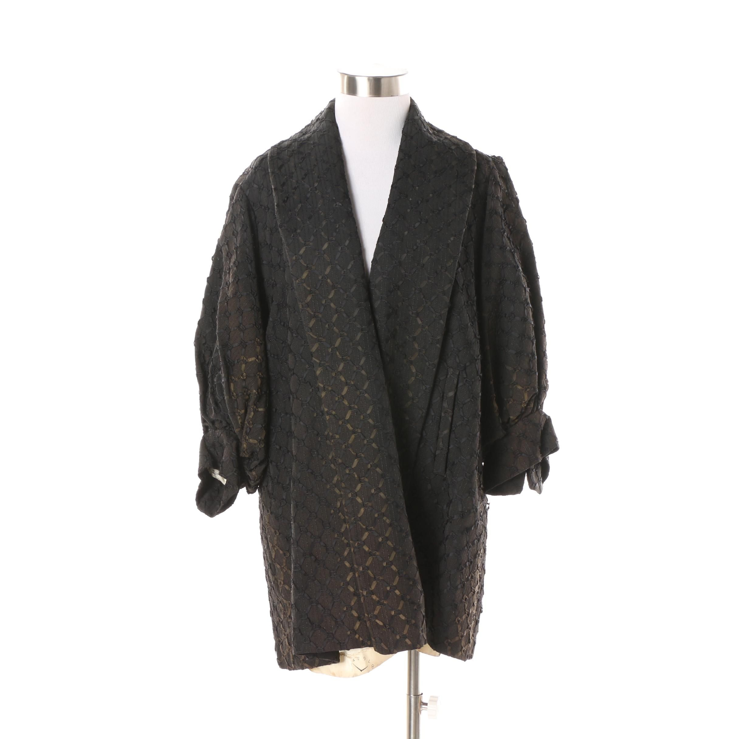 1940s Vintage Black Silk Swing Coat with Ribbon Lattice Detail