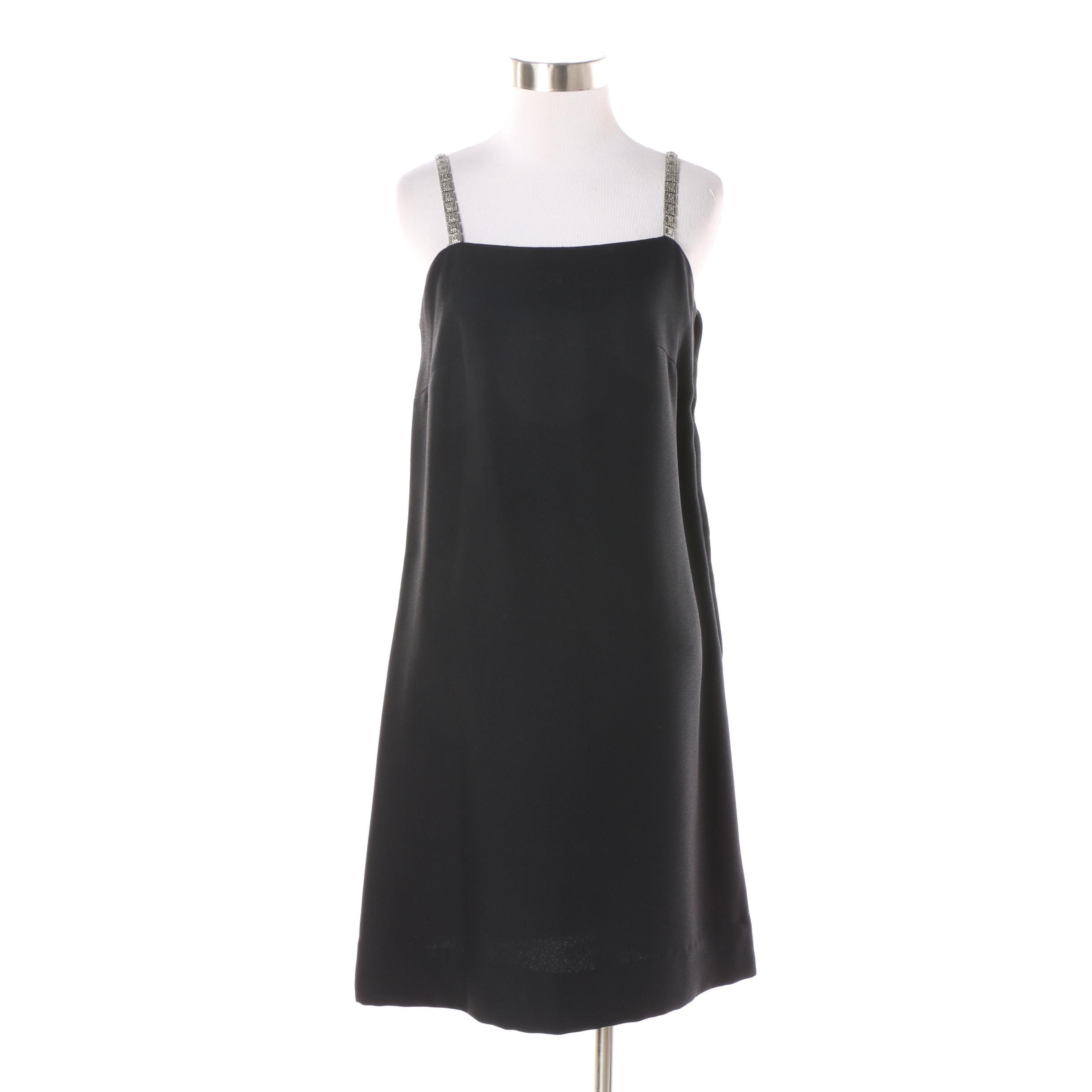 Circa 1960s Vintage Felix Safian Black Cocktail Dress w/ Marcasite Style Straps