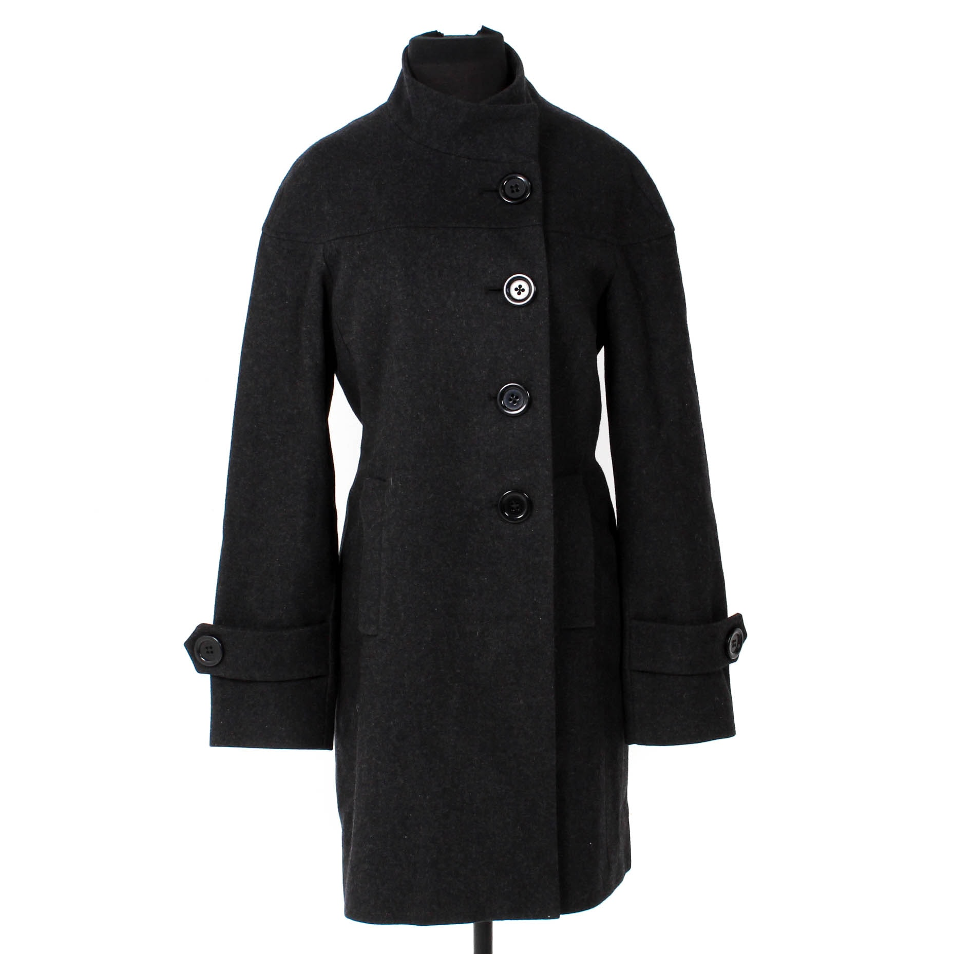 Bill Blass Charcoal Black Wool Coat