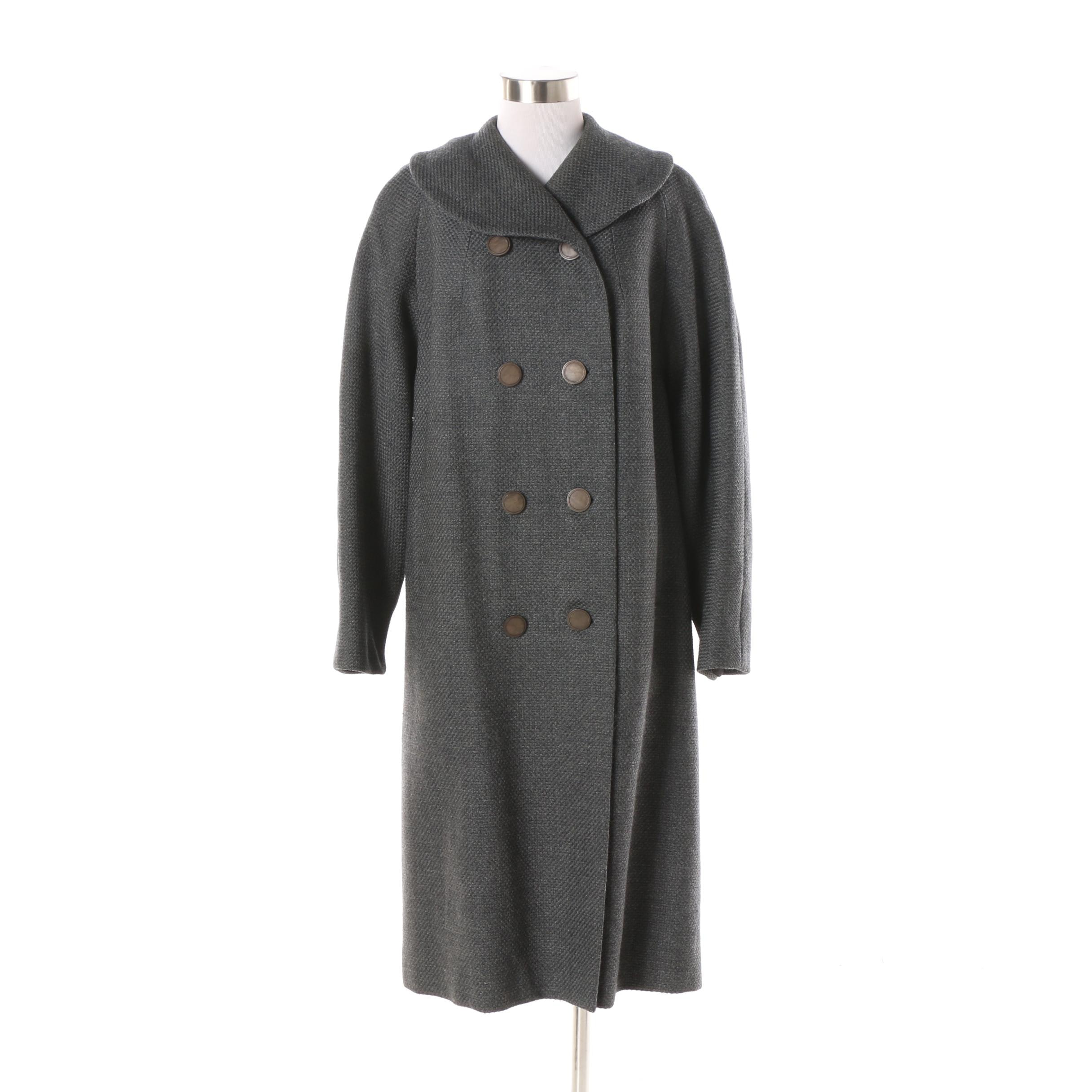 Women's Vintage Bramson Grey Wool Double-Breasted Coat