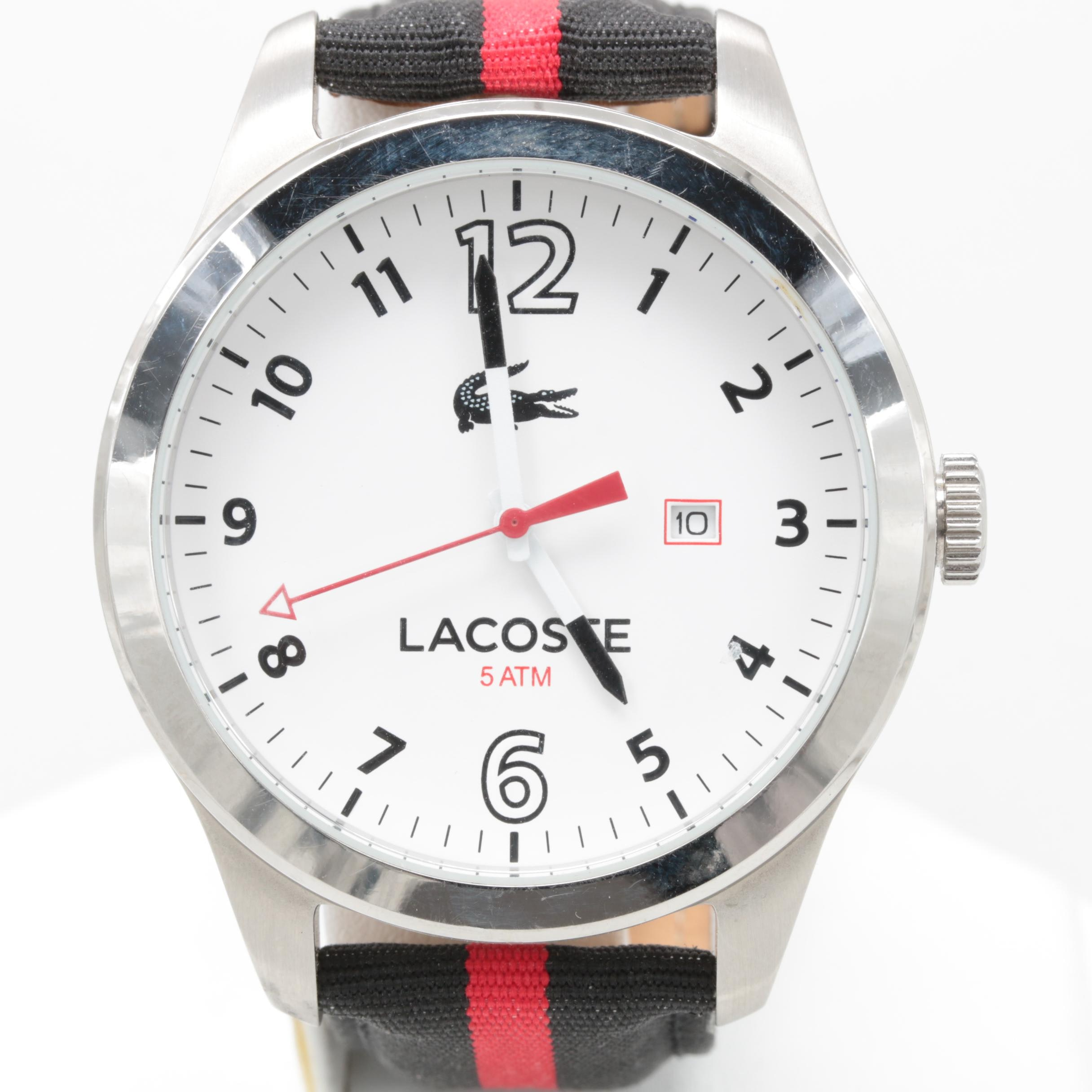 Lacoste Stainless Steel Wristwatch with Red and Black Leather Strap