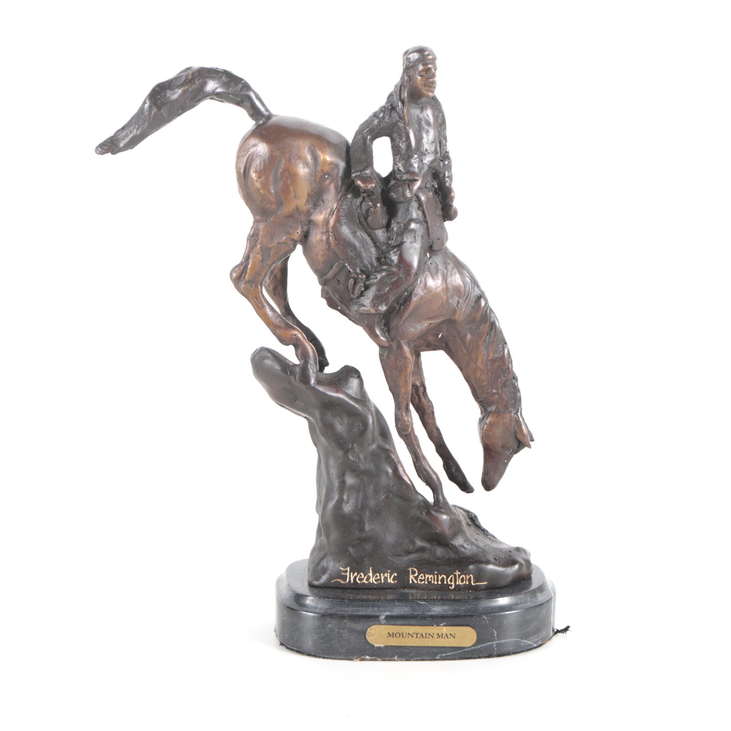 "Brass Sculpture After Frederic Remington ""Mountain Man"""