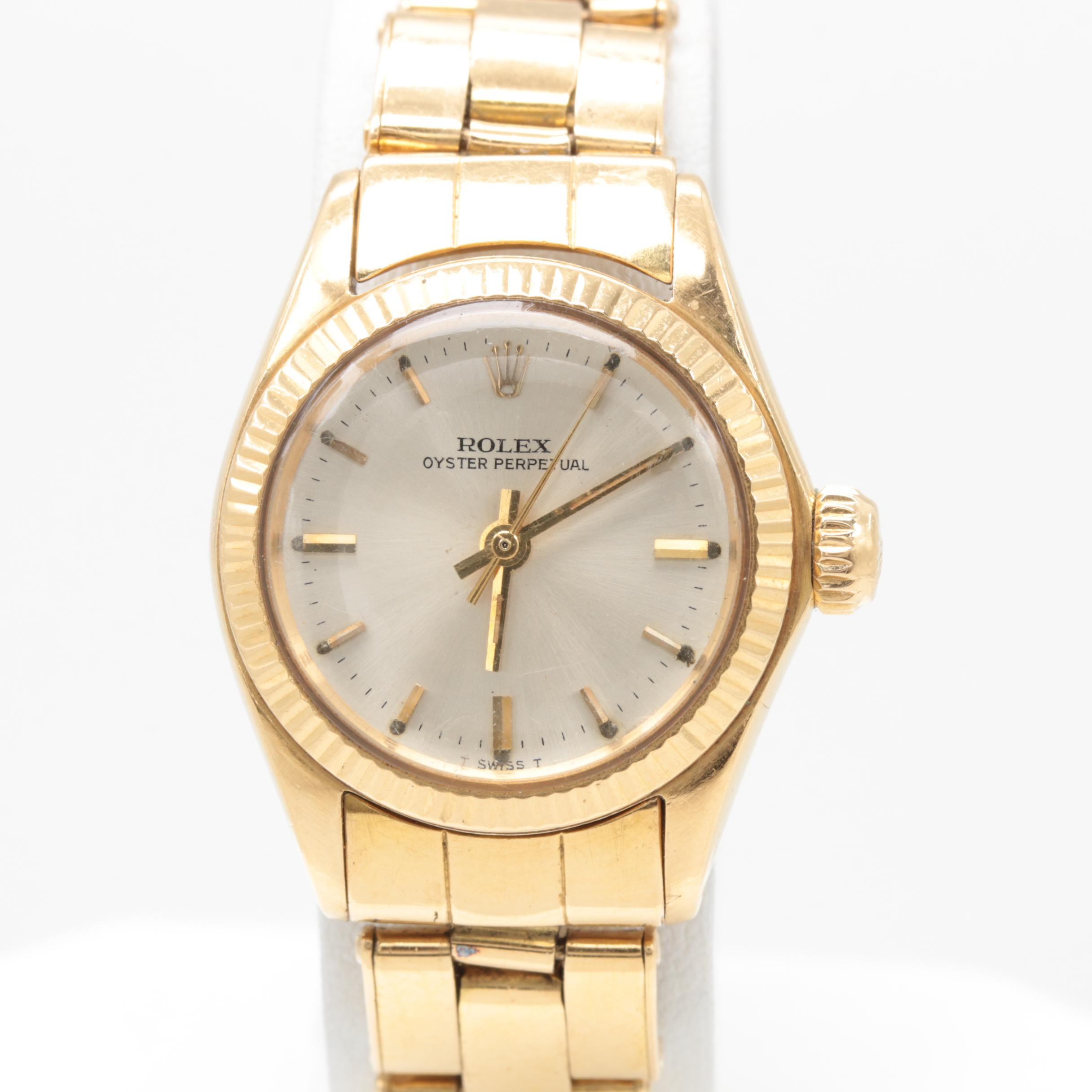 Circa 1966 Rolex Oyster Perpetual 18K Yellow Gold Silver Tone Dial Wristwatch