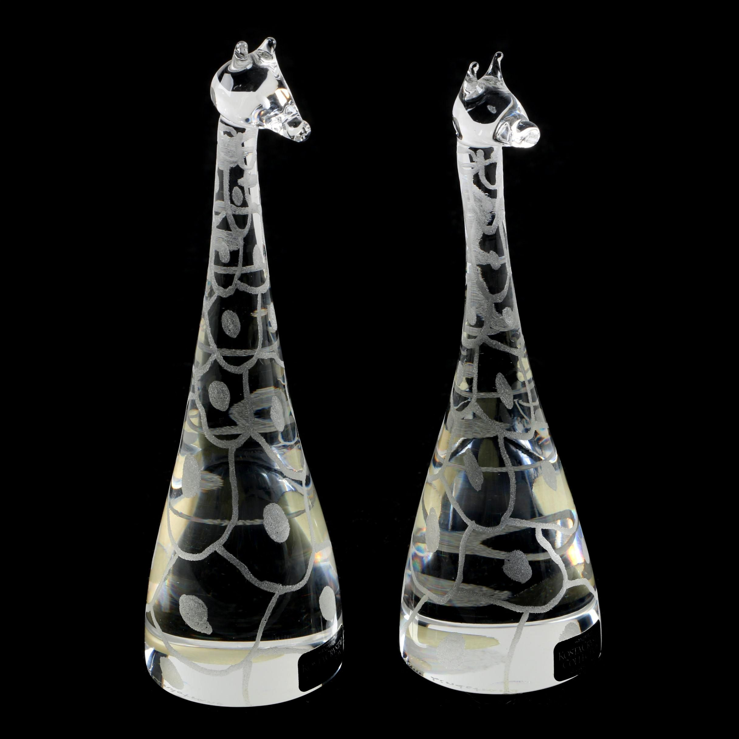 Vintage Kosta Crystal Collection Giraffe Figurines