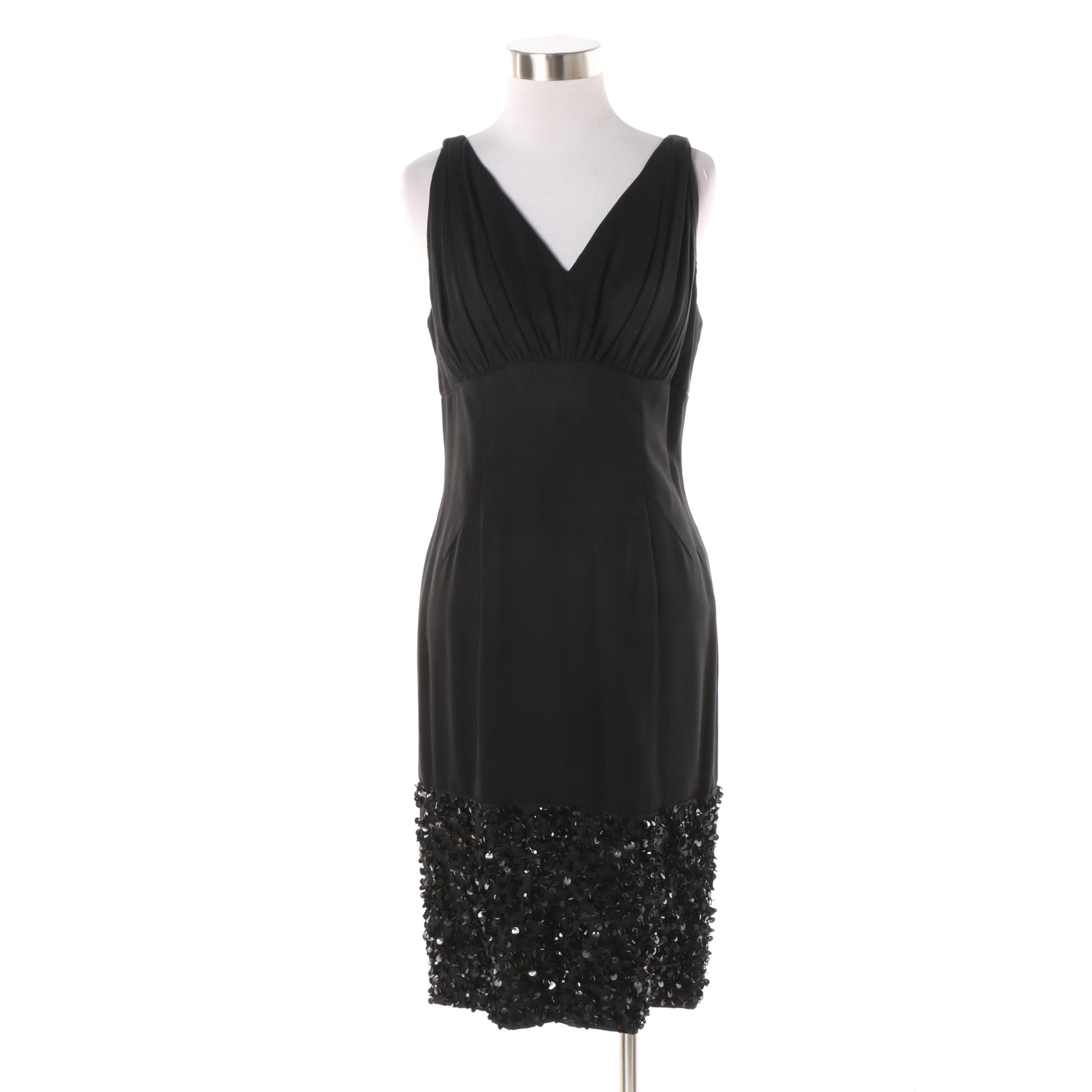1960s Vintage Kay Martin Sleeveless Cocktail Dress with Sequin Accents