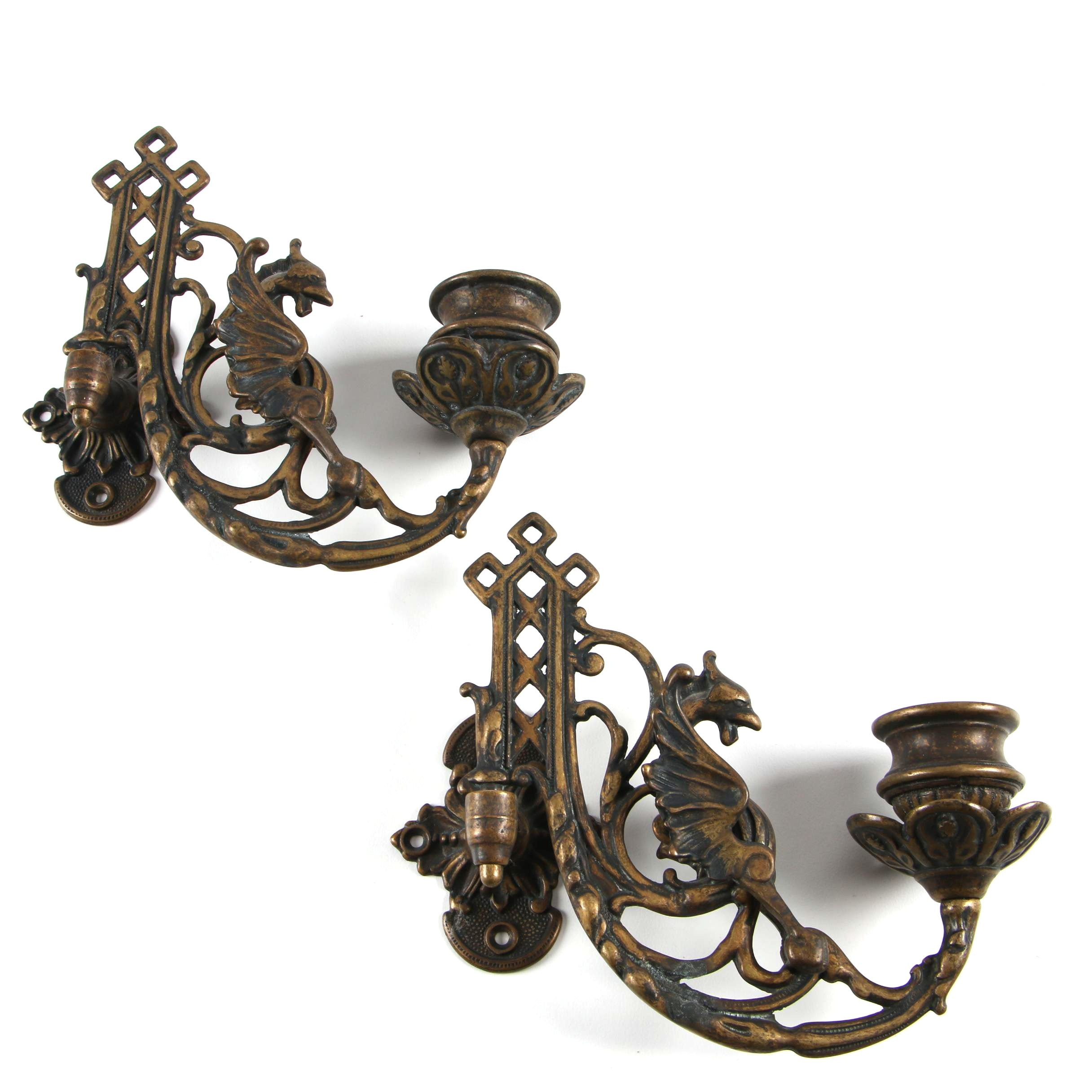 Italian Brass Swing Arm Dragon Themed Sconces