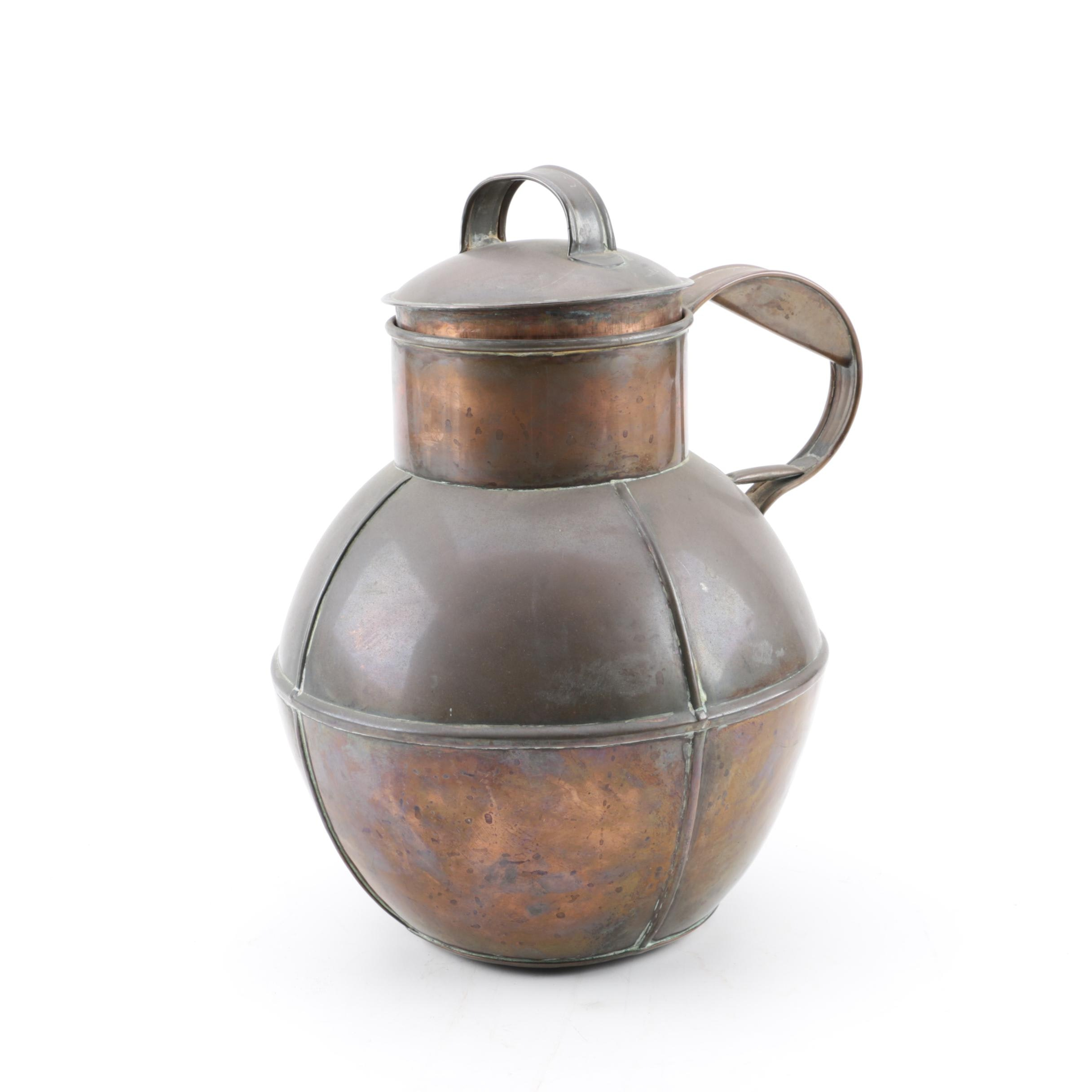 Vintage Lidded Copper Jug