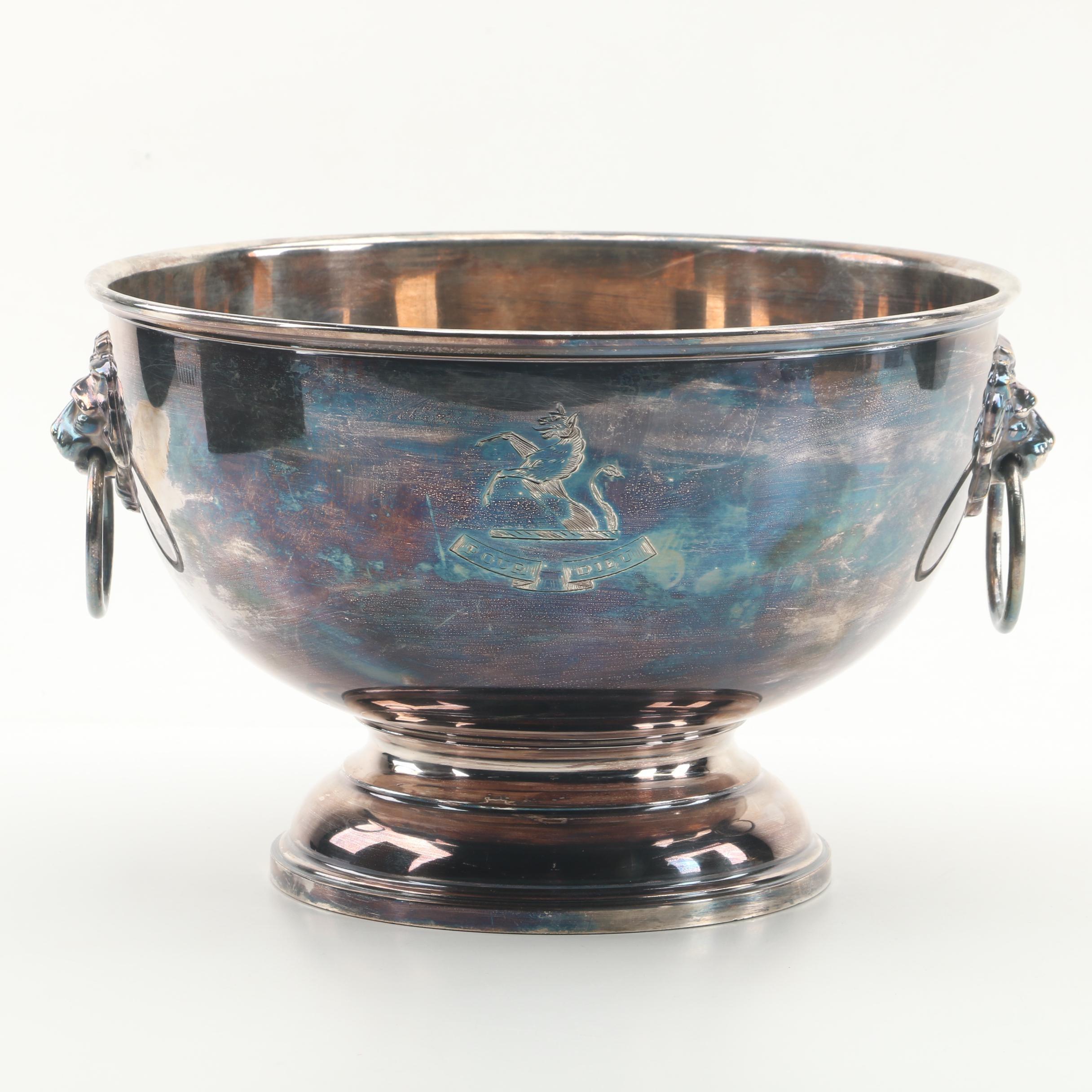 Vintage English Silver Plate Pedestal Bowl with Lion's Head Drop Handles