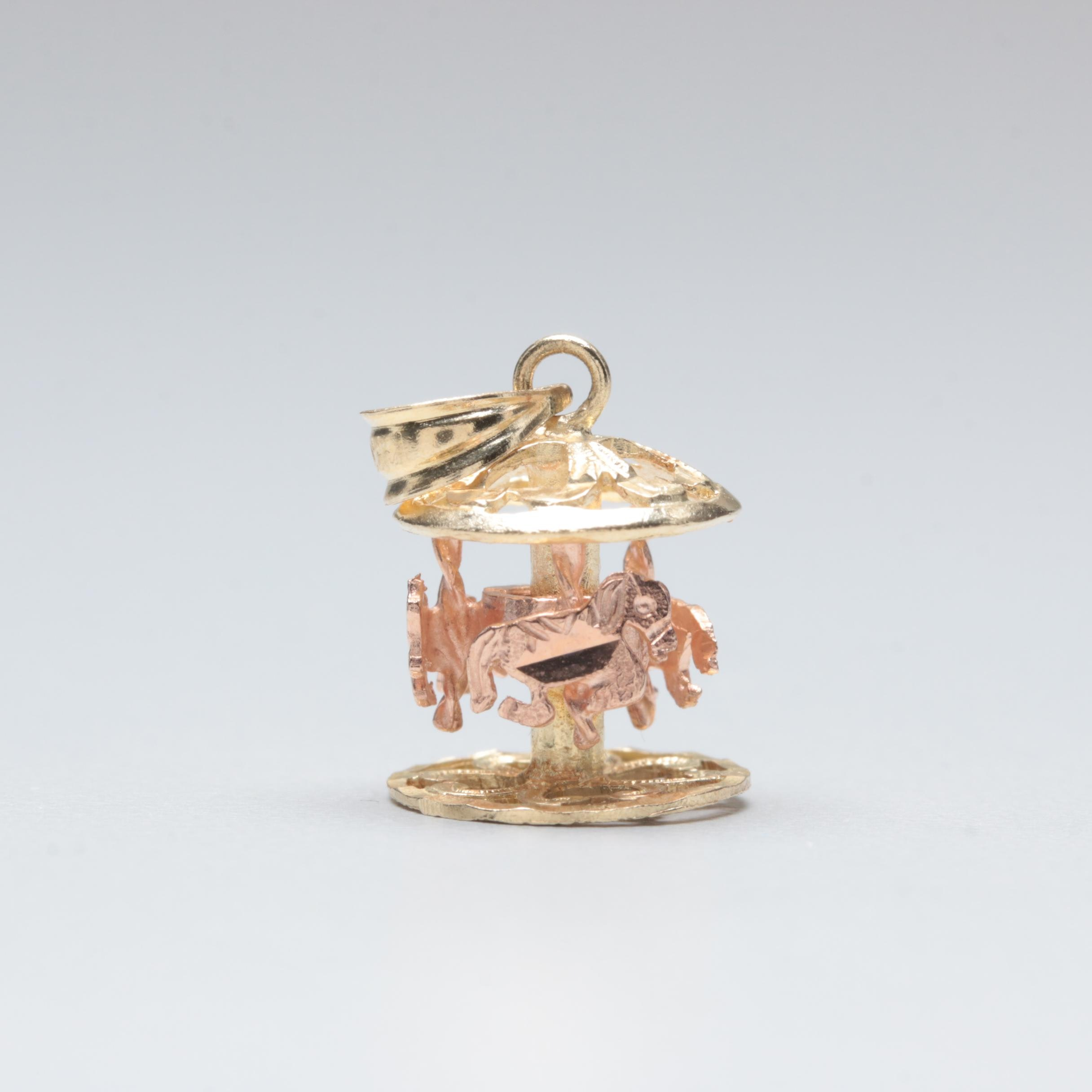 14K Yellow and Rose Gold Carousel Charm Pendant