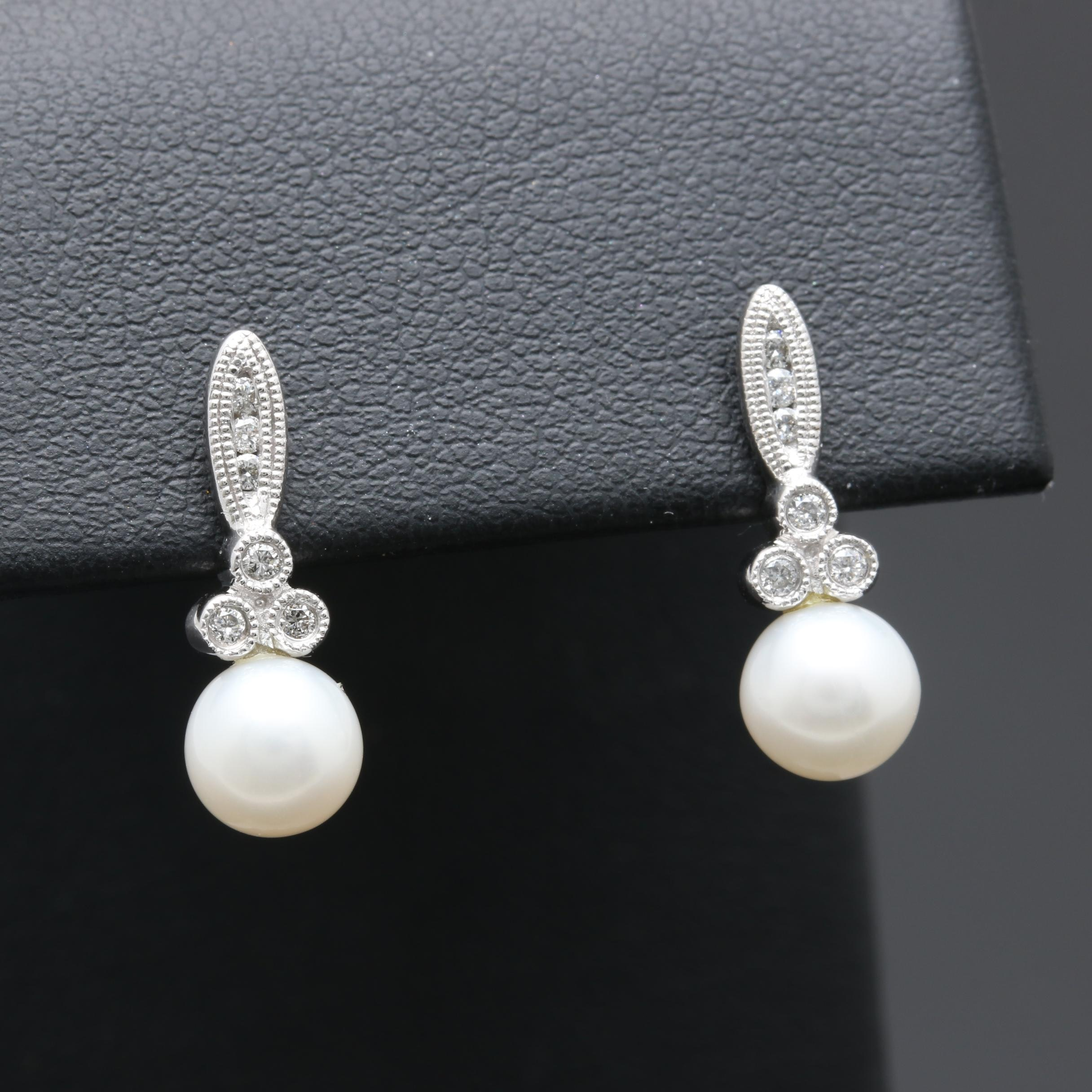 10K White Gold Cultured Pearl and Diamond Drop Earrings with 14K Gold Accents