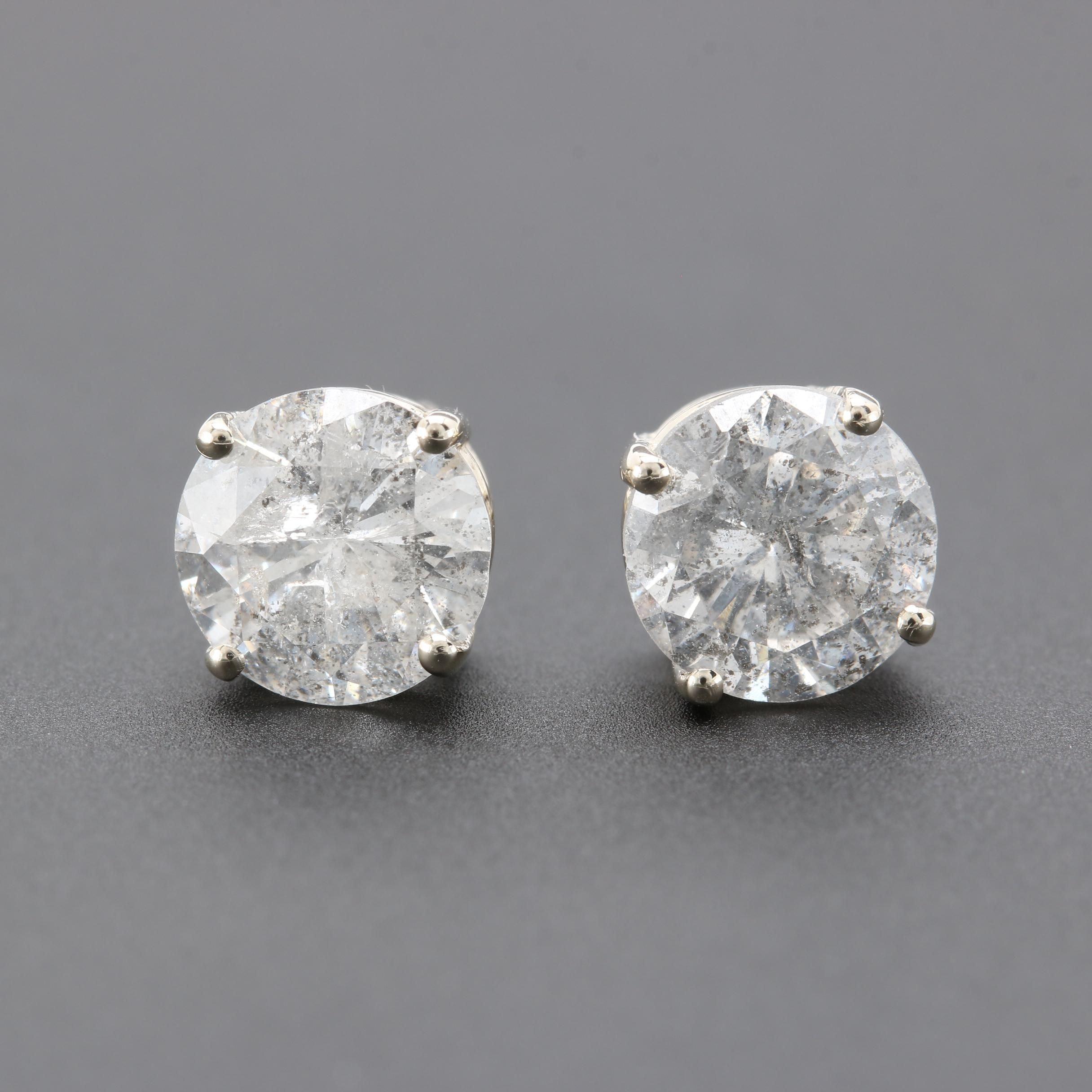 14K White Gold 2.56 CTW Diamond Stud Earrings