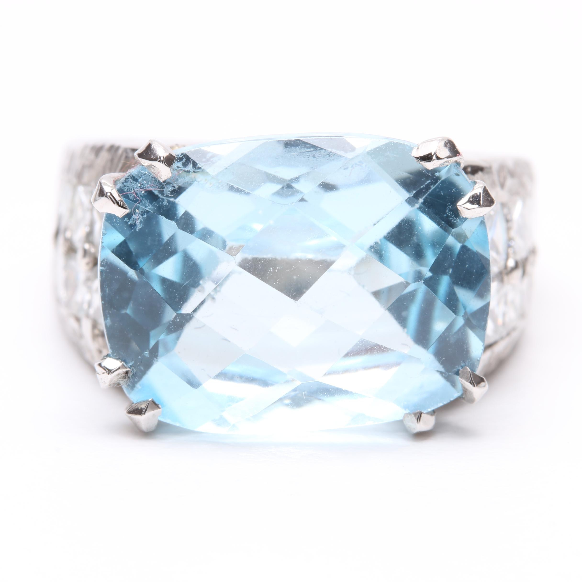 French 18K White Gold Blue Topaz and 1.50 CTW Diamond Ring