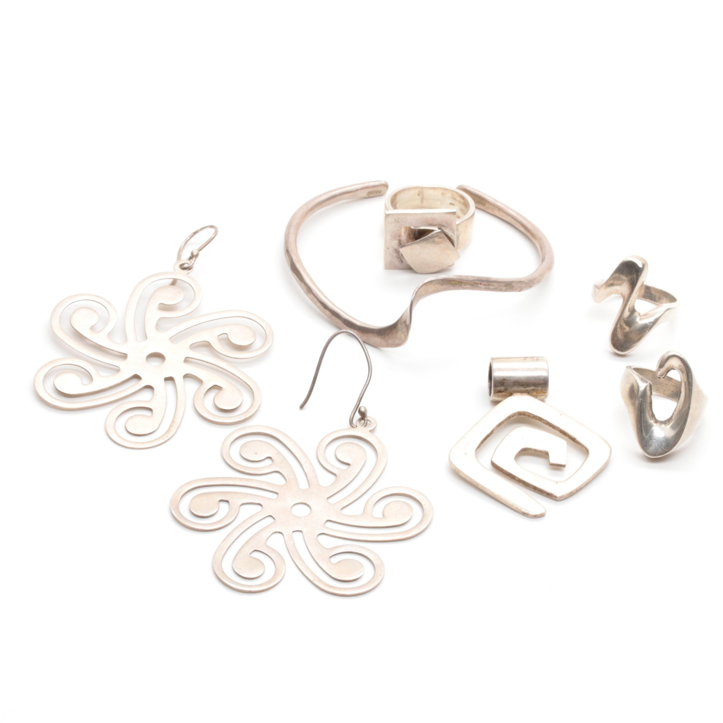 Sterling Silver Cuff Bracelet, Earrings and Rings Includes Mexican Silver